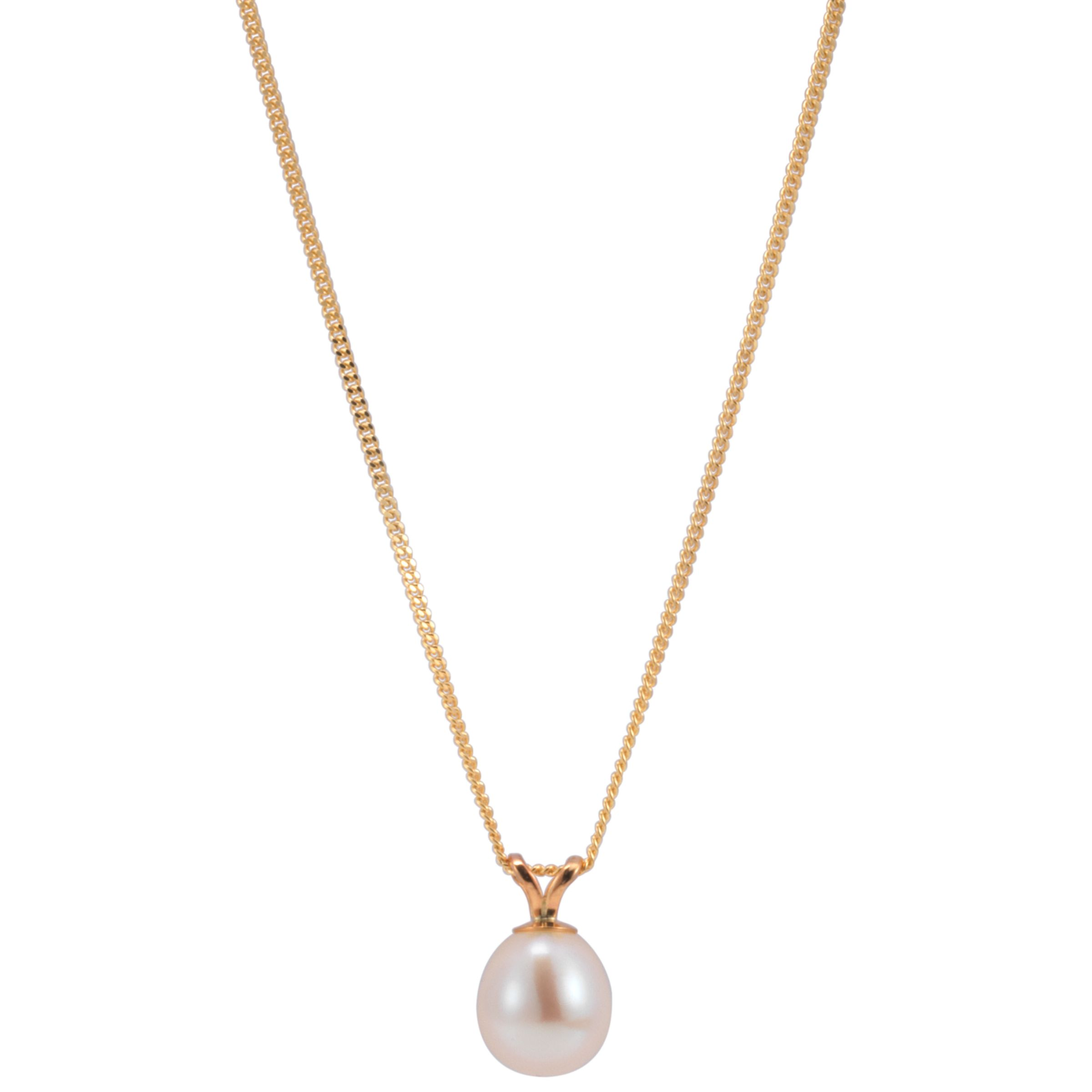 Freshwater White Pearl Pendant Necklace with Gold Adjuster Chain