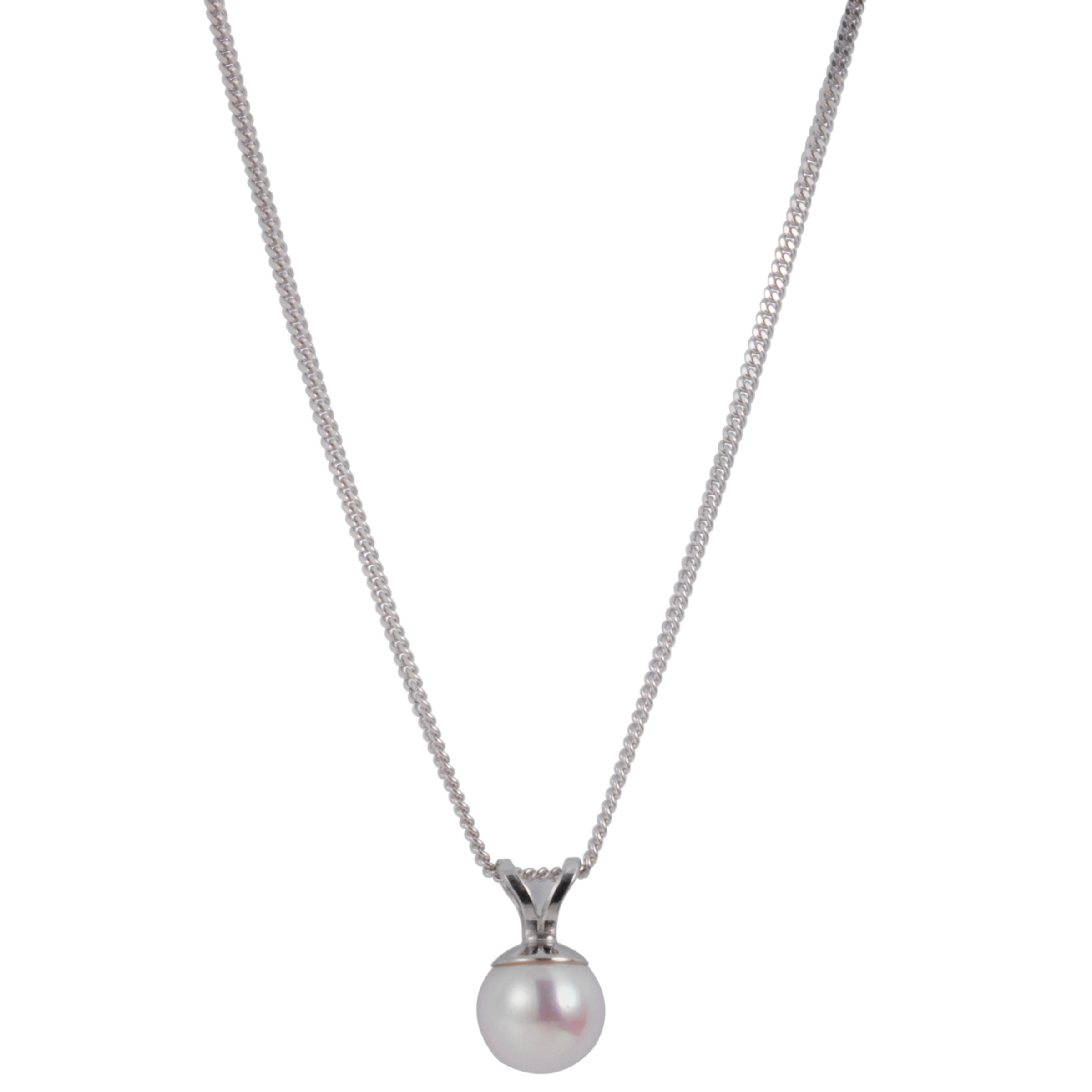Cultured Pearl Ball Pendant Necklace with White Gold Adjuster Chain