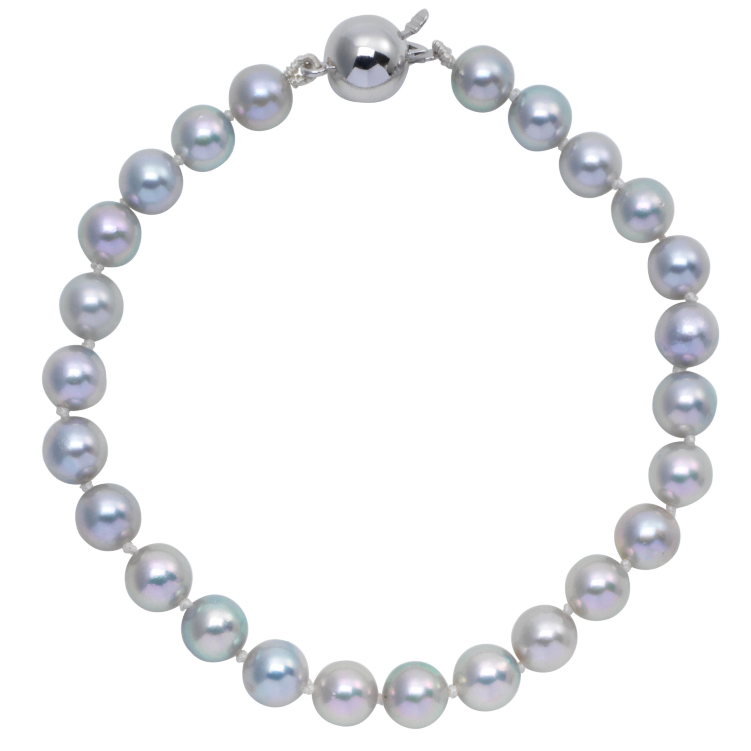 "Cultured Grey Pearl Knotted 7.5"" Bracelet with White Gold Clasp at JohnLewis"