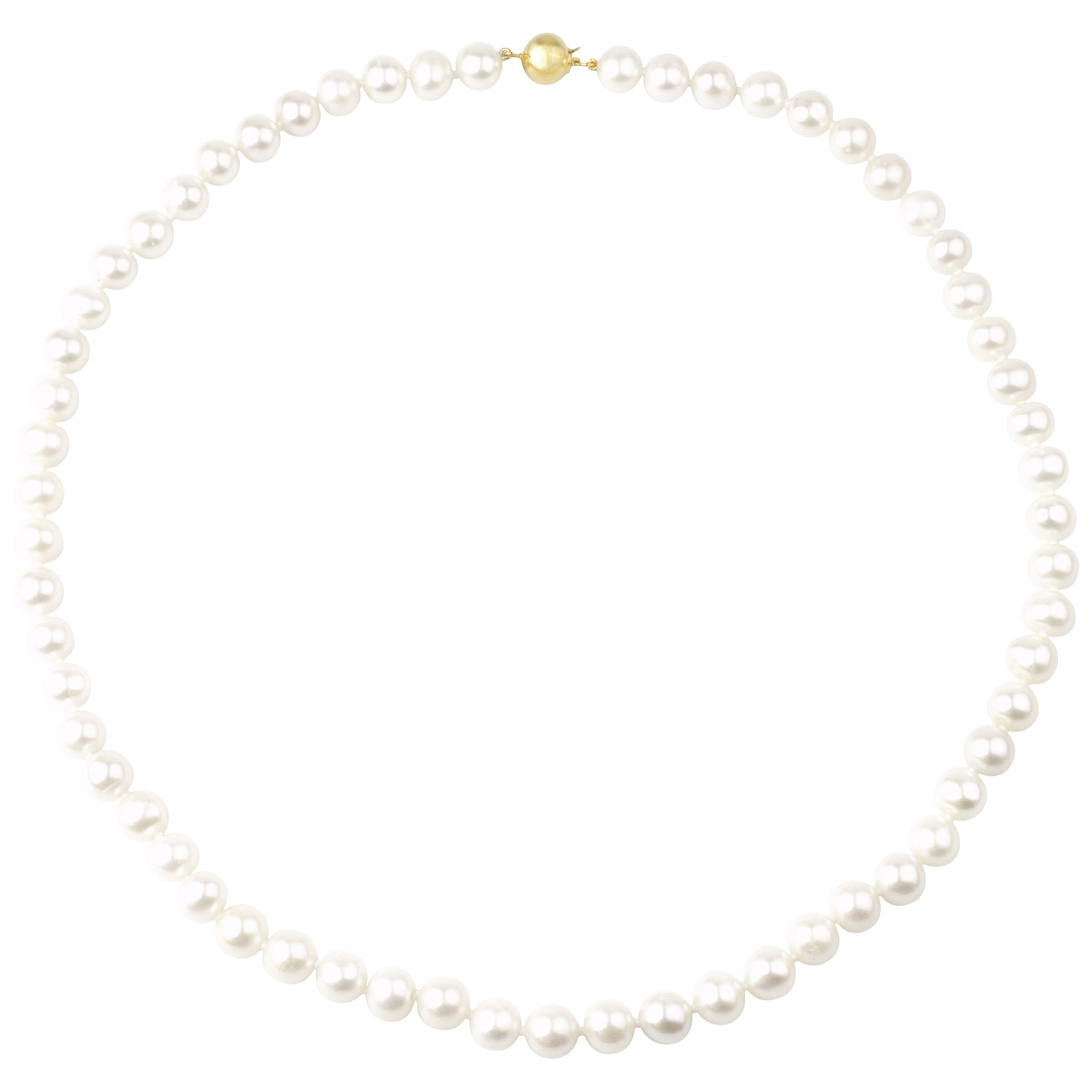 "Freshwater Lustre Pearls Knotted 18"" Necklace with Gold Clasp at JohnLewis"