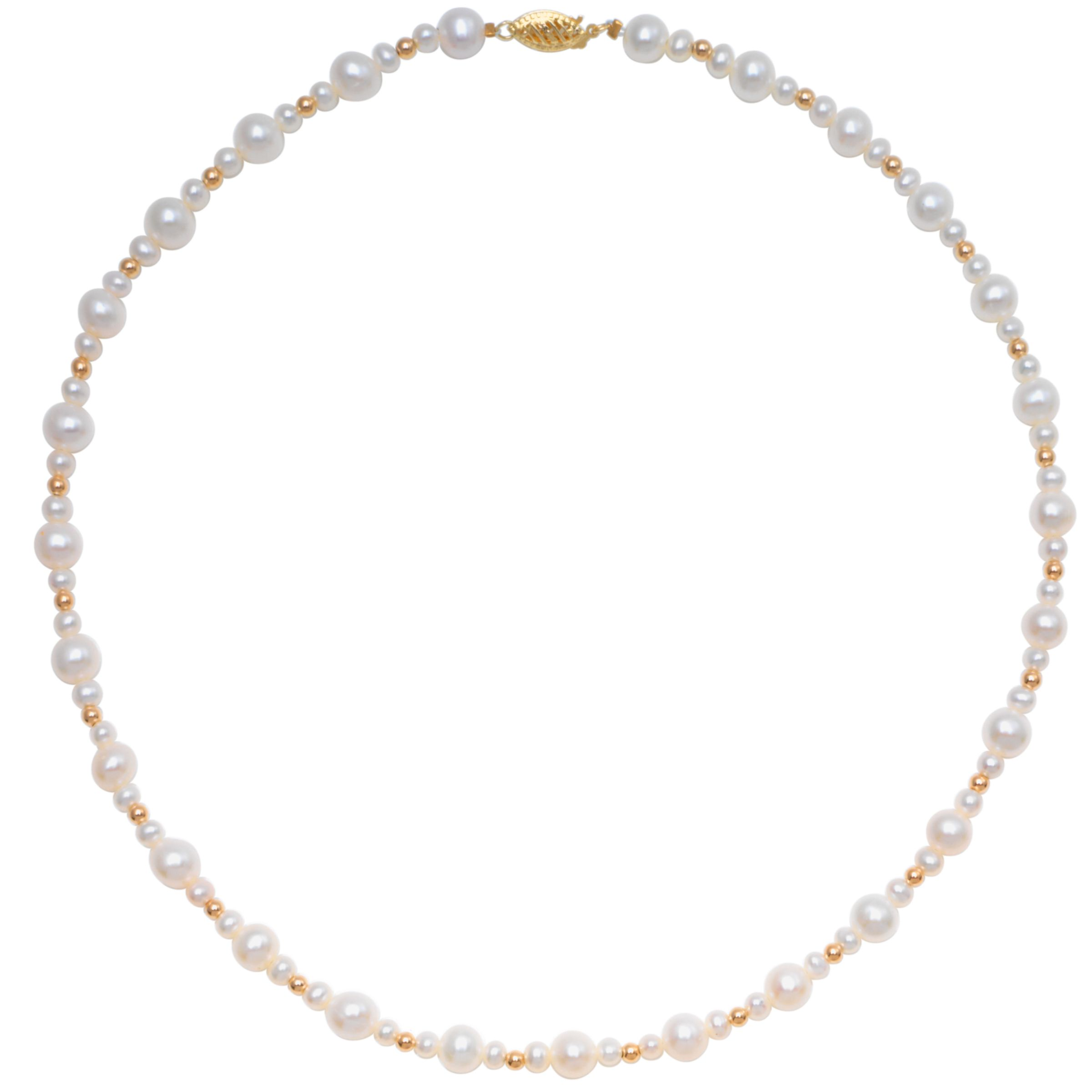 "Freshwater White Pearl and Gold Bead 18"" Necklace with Gold Clasp at JohnLewis"