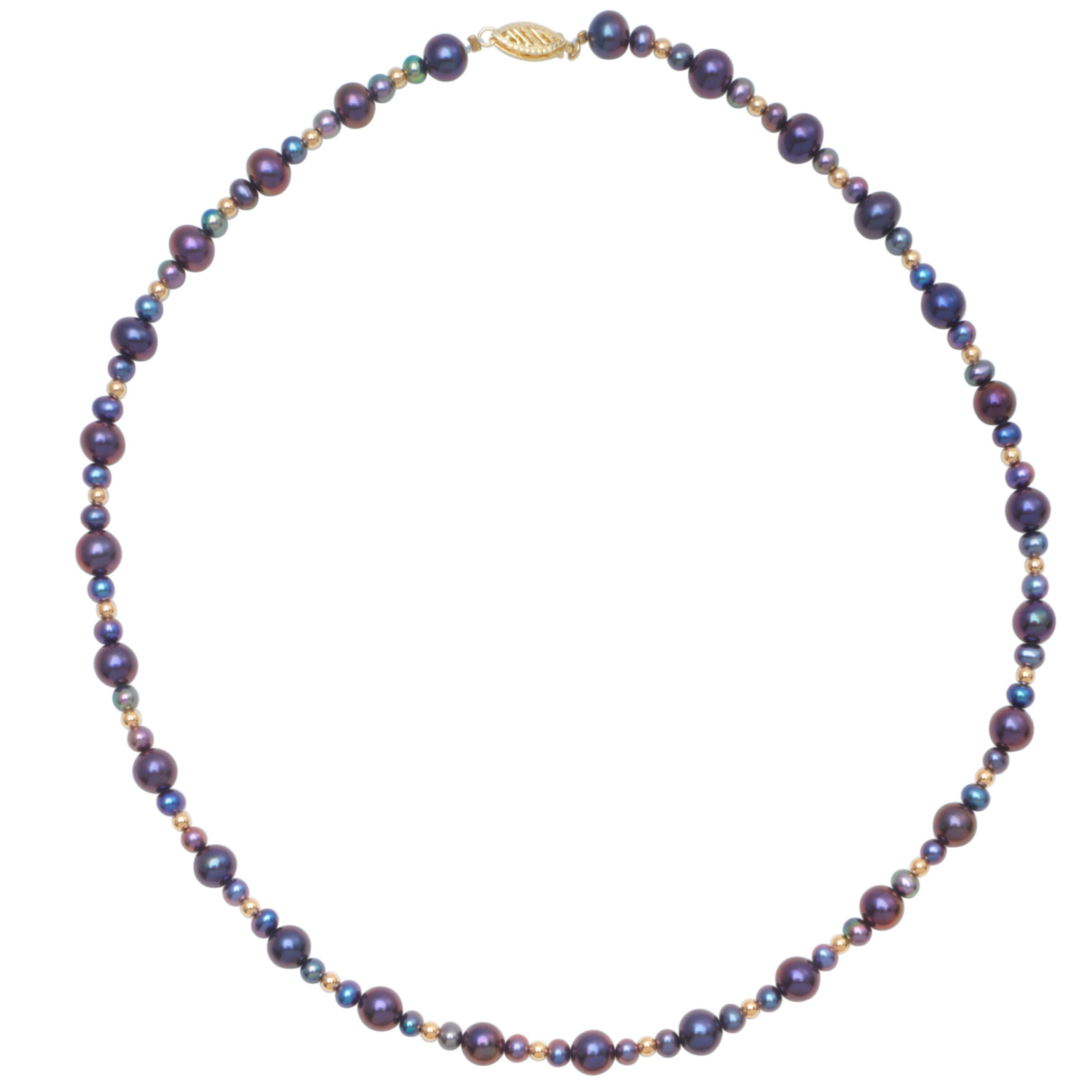 "Freshwater Blue Pearl 18"" Necklace with White Gold Clasp at JohnLewis"