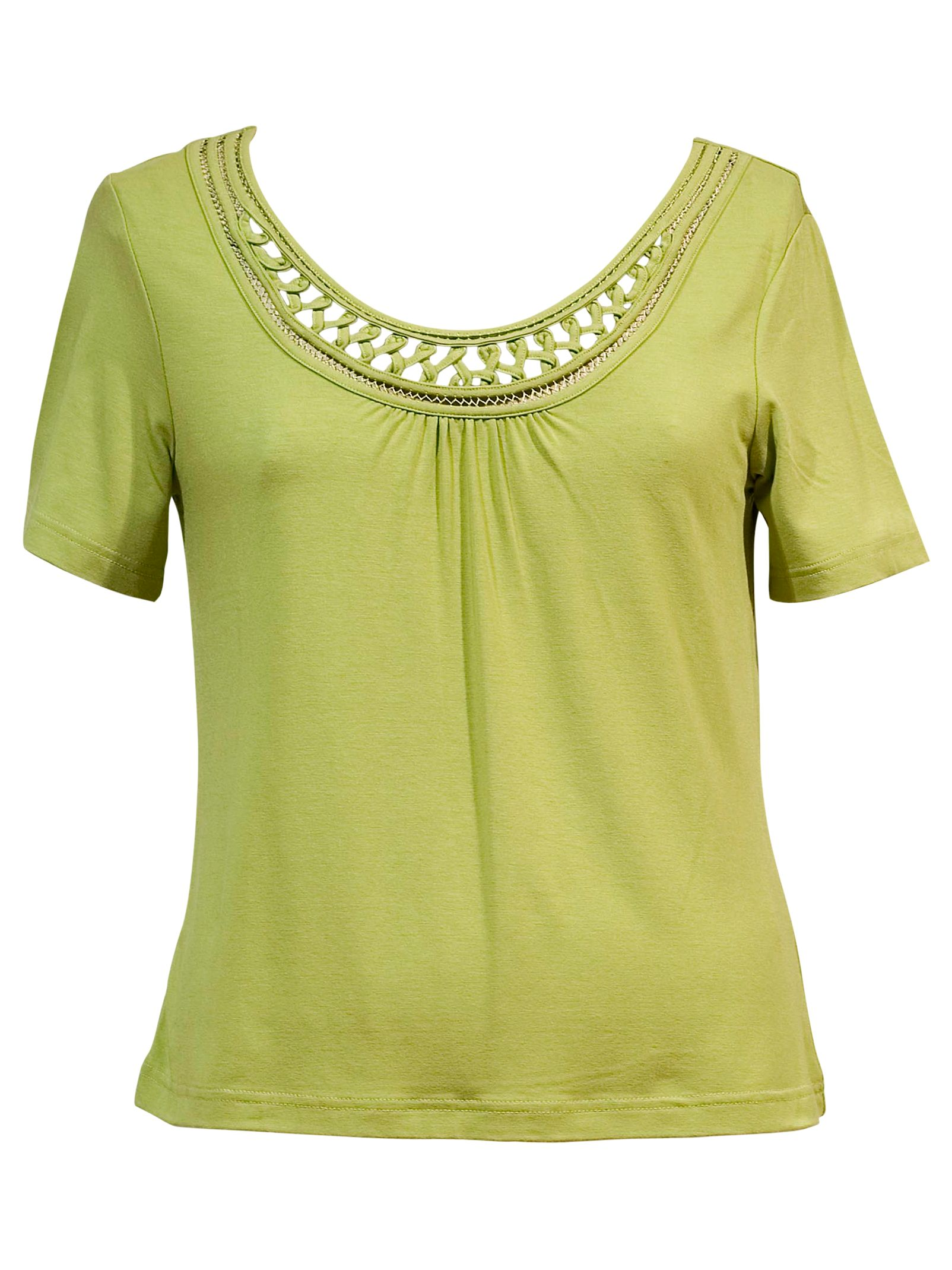 Chesca Macrame Neck Trim Short Sleeve T-Shirt,