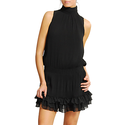 Buy Mango High Neck Ruffle Skirt Sleeveless Dress, Black online at JohnLewis.com - John Lewis
