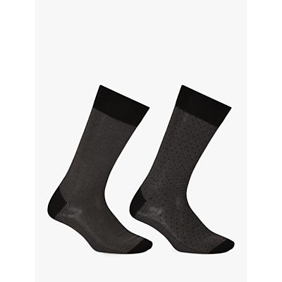 John Lewis Men Birdseye Egyptian Cotton Socks, Pack of 2, Navy