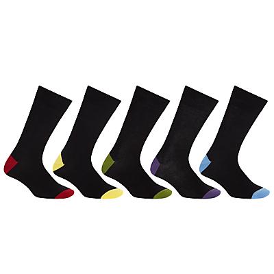 John Lewis Men Bright Heel and Toe Socks, Pack of 5, Black
