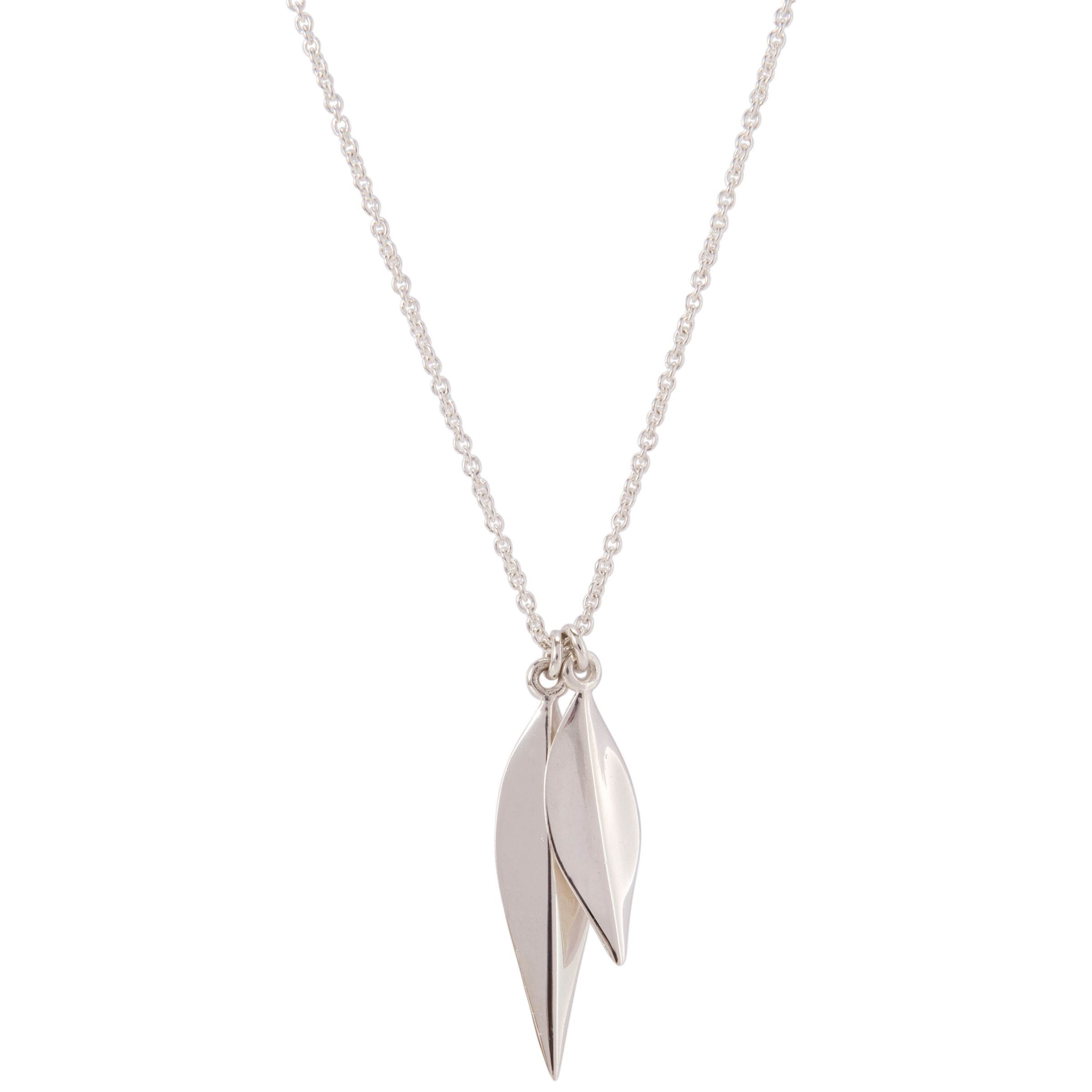 Dinny Hall Silver Elongated Lotus Petal Pendant Necklace