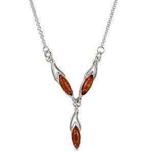 Goldmajor Cognac Amber Silver Y Collar Necklace