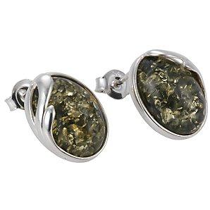 Goldmajor Oval Green Amber Stud Earrings