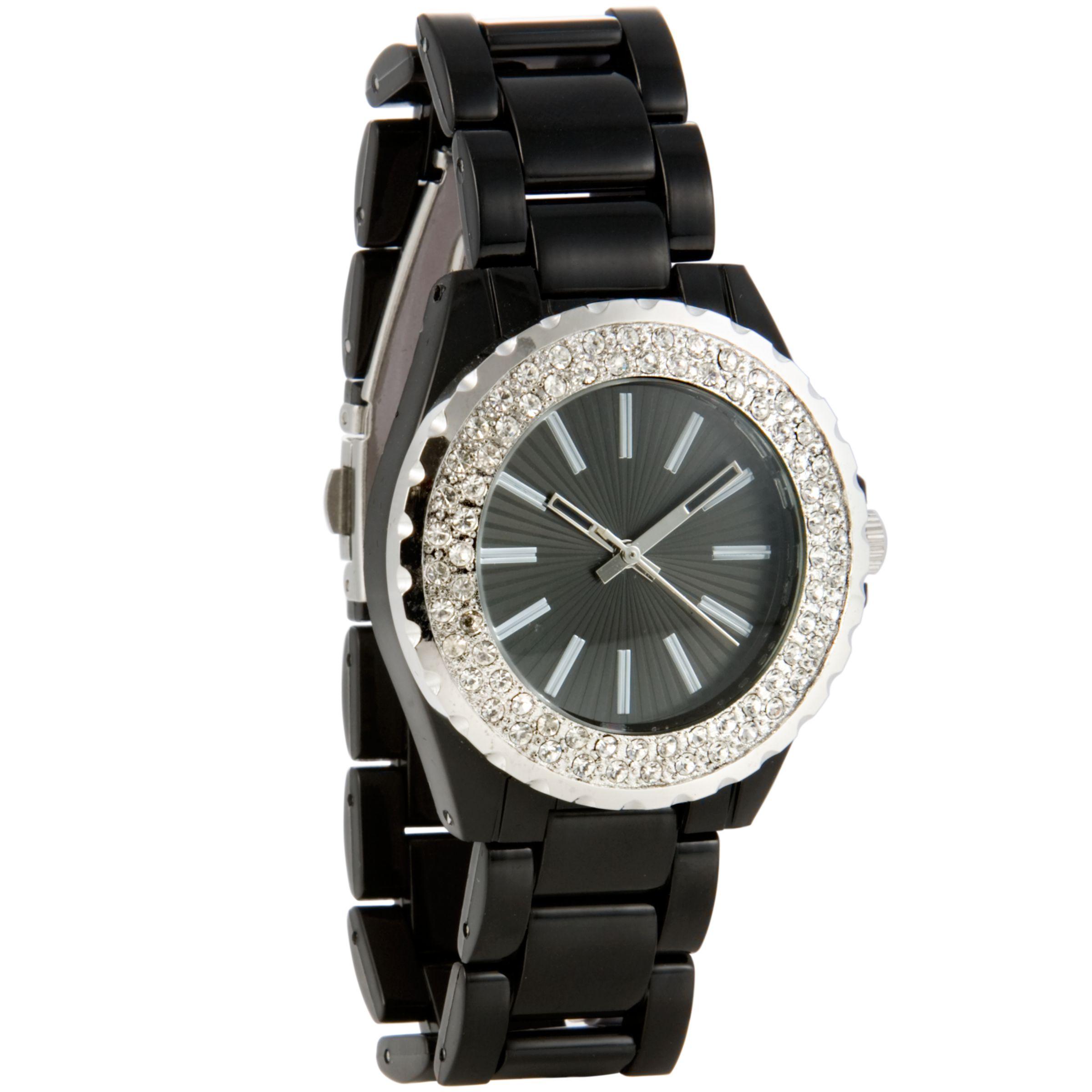 John Lewis Women Stone Set Ceramic Bracelet Watch, Black