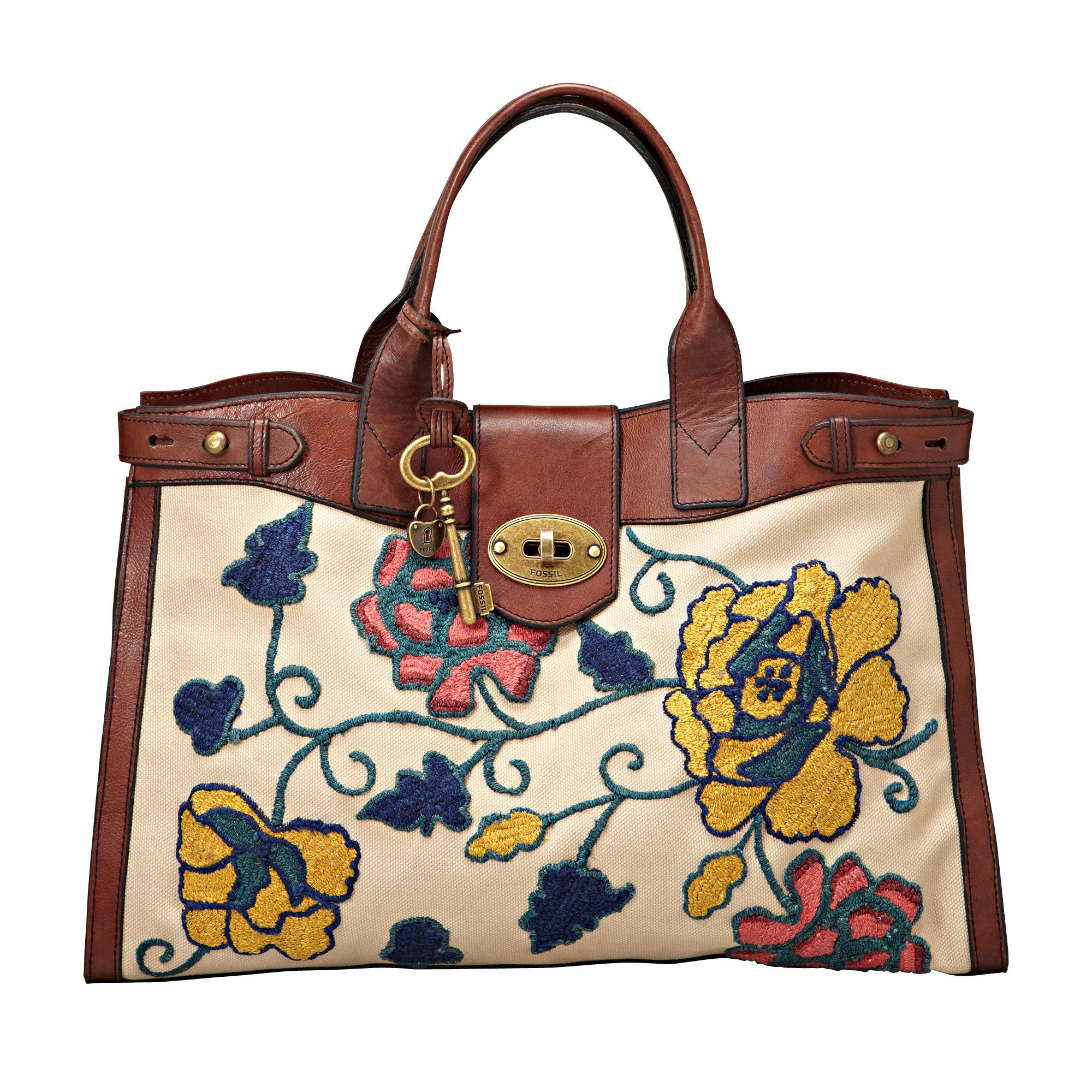 Fossil Re-Issue Vintage Weekender Handbag, Multicoloured at John Lewis