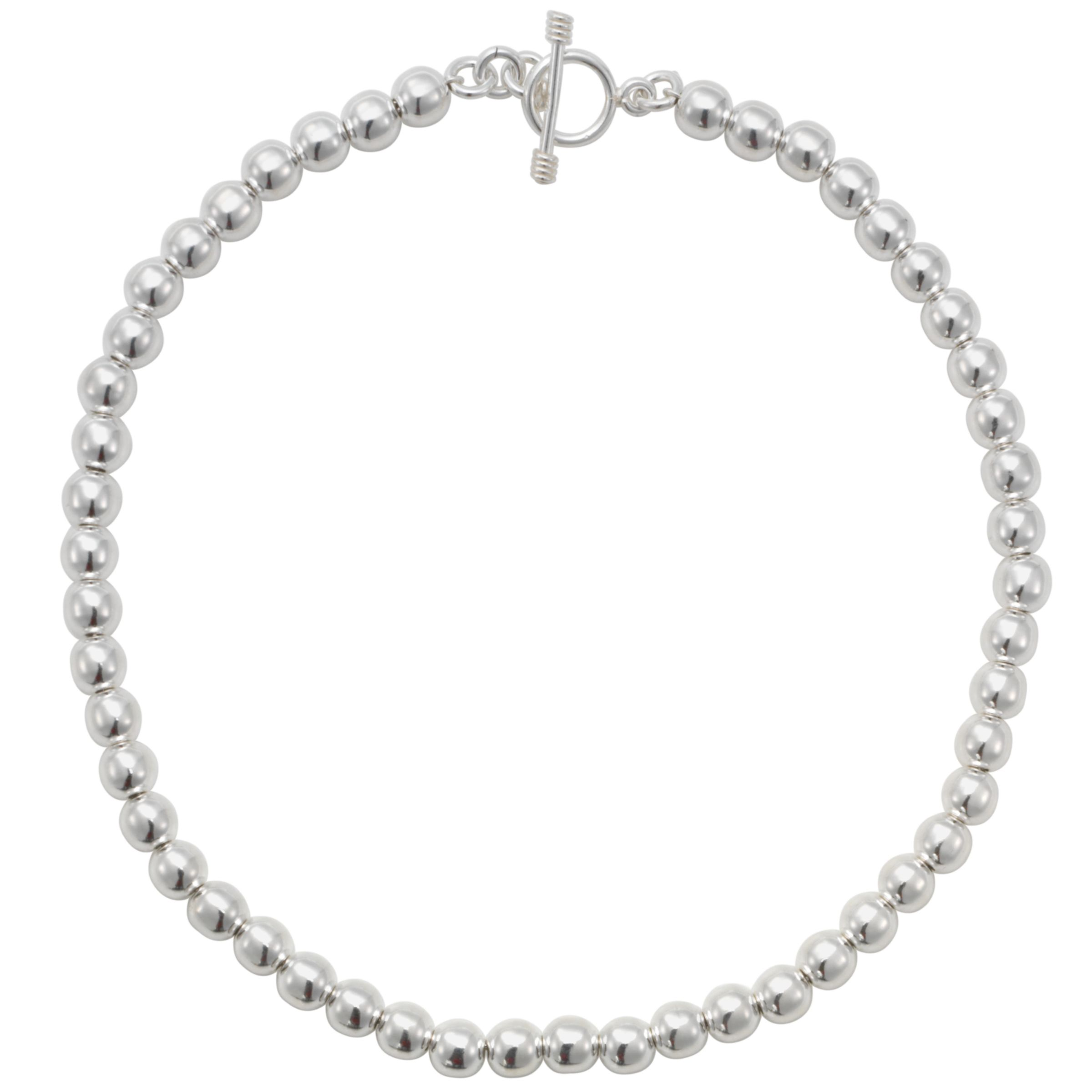 Andea Silver Round Bead Necklace