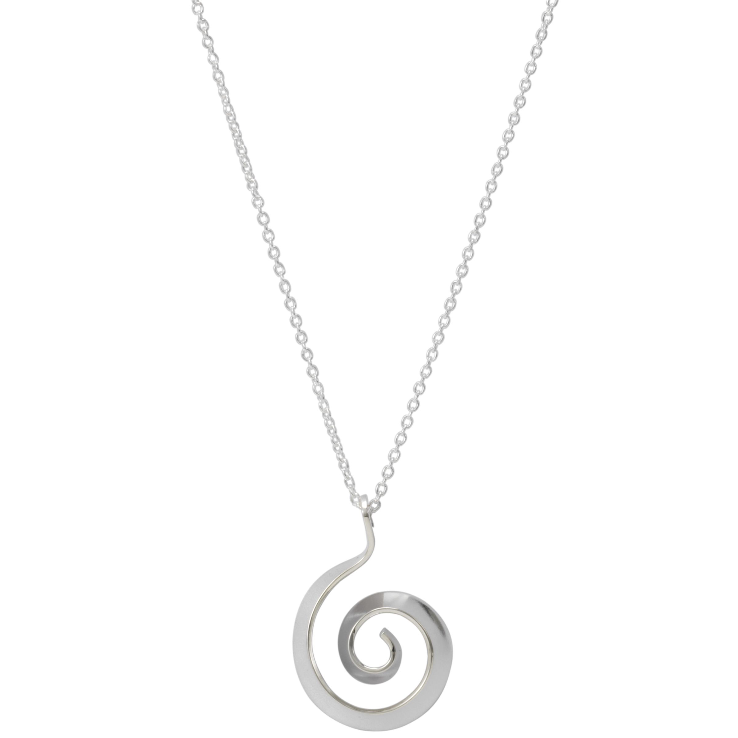 Andea Silver Swirl Pendant Necklace