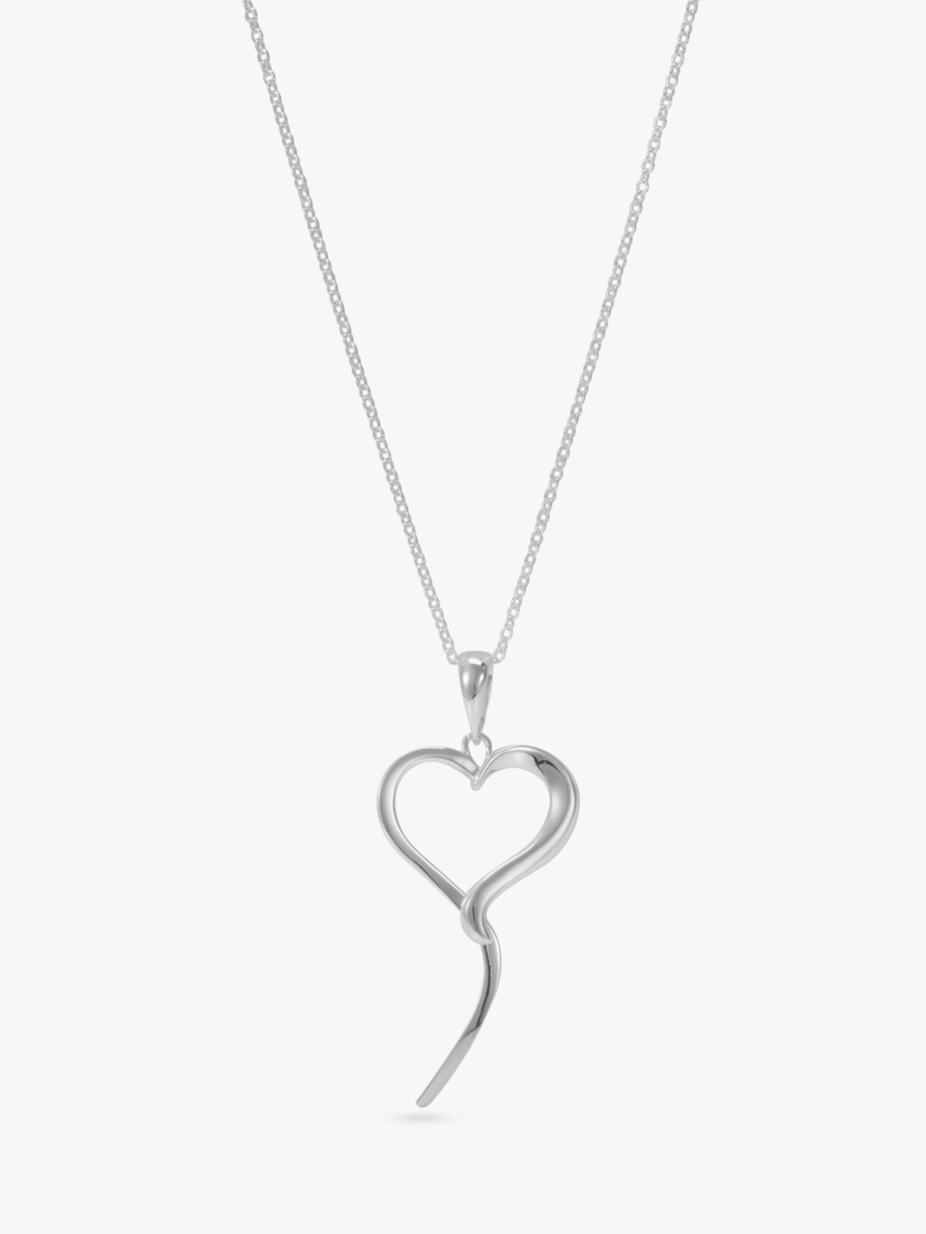 Andea Open Silver Heart Pendant Necklace