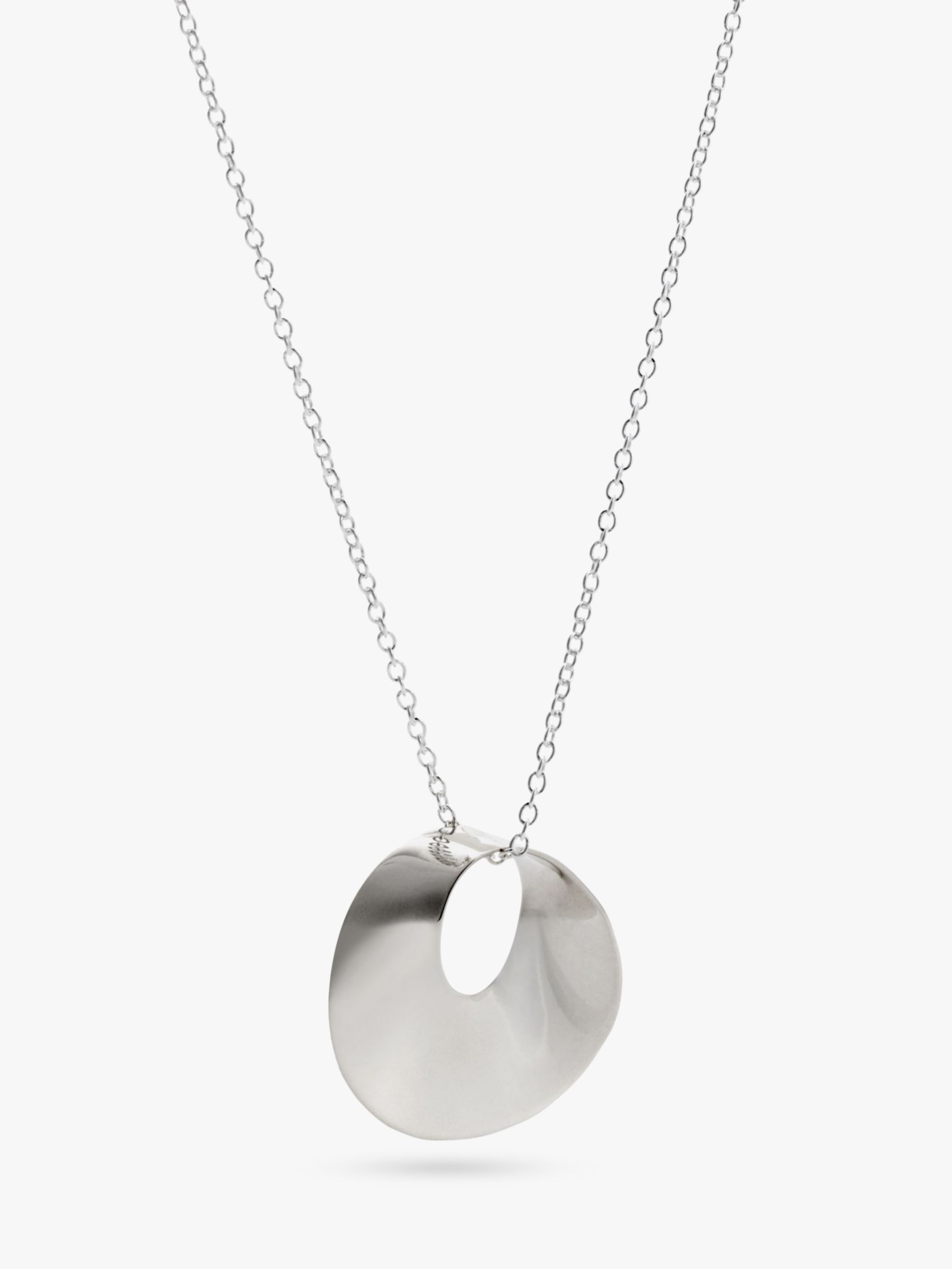 Andea Round Open Twist Silver Pendant Necklace