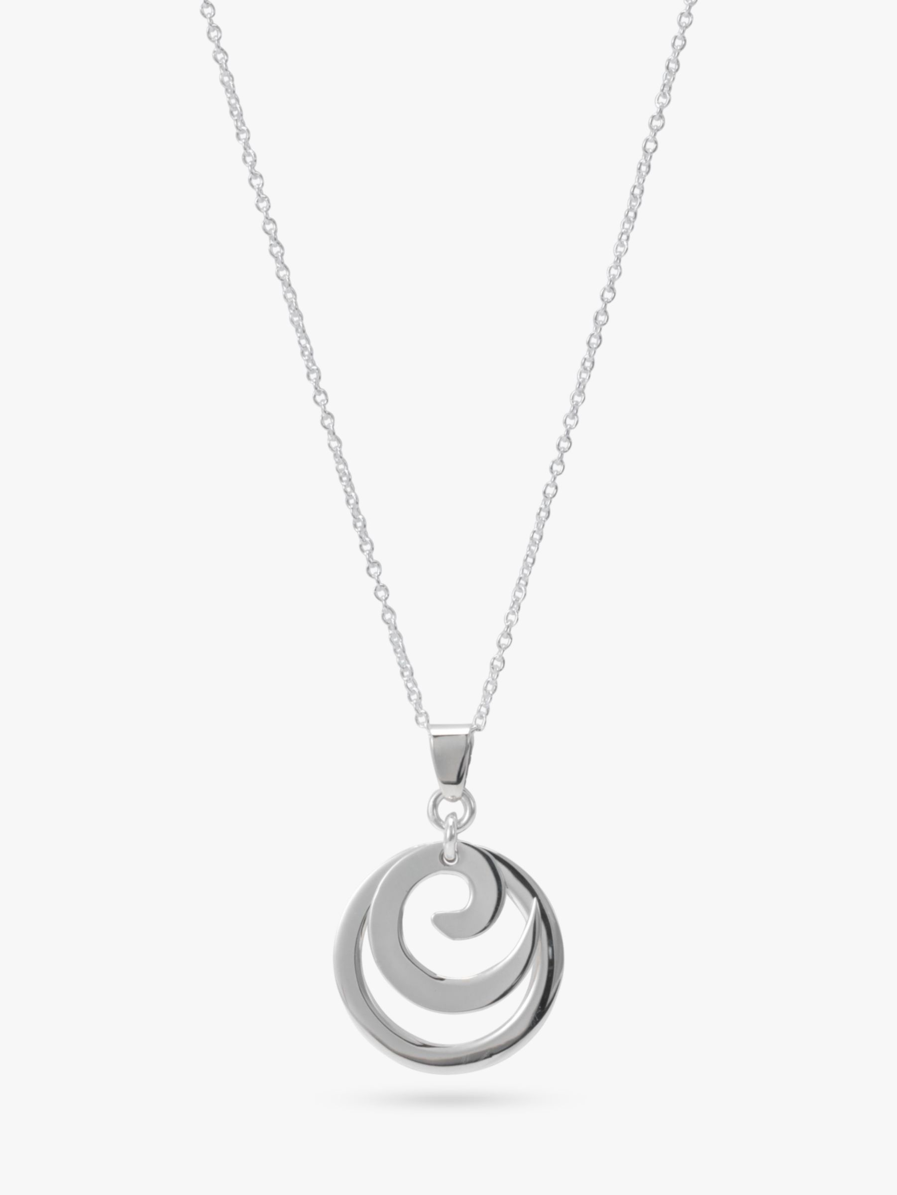 Andea Silver Spiral Circle Pendant Necklace