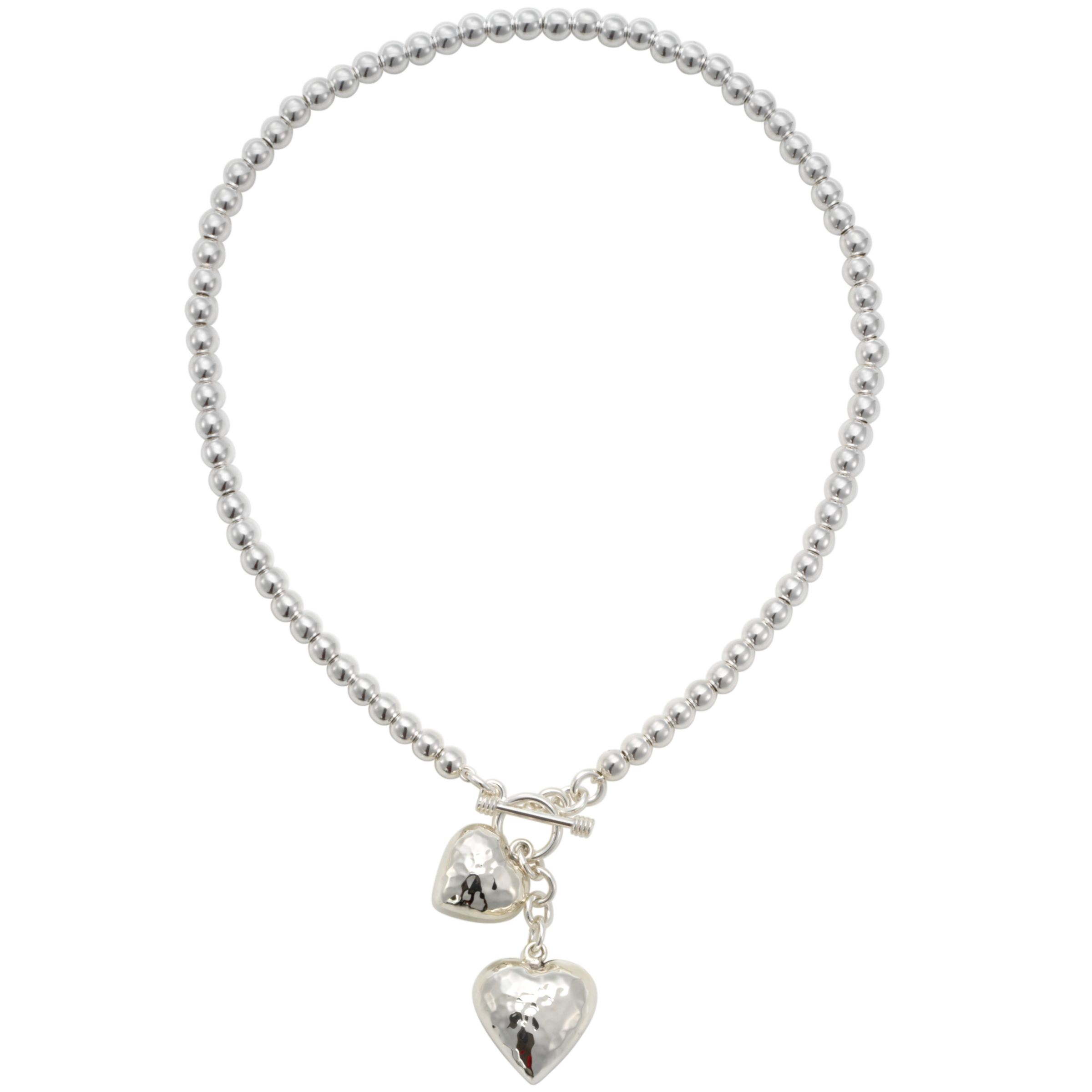 Andea Silver Round Bead Necklace with Heart Charms