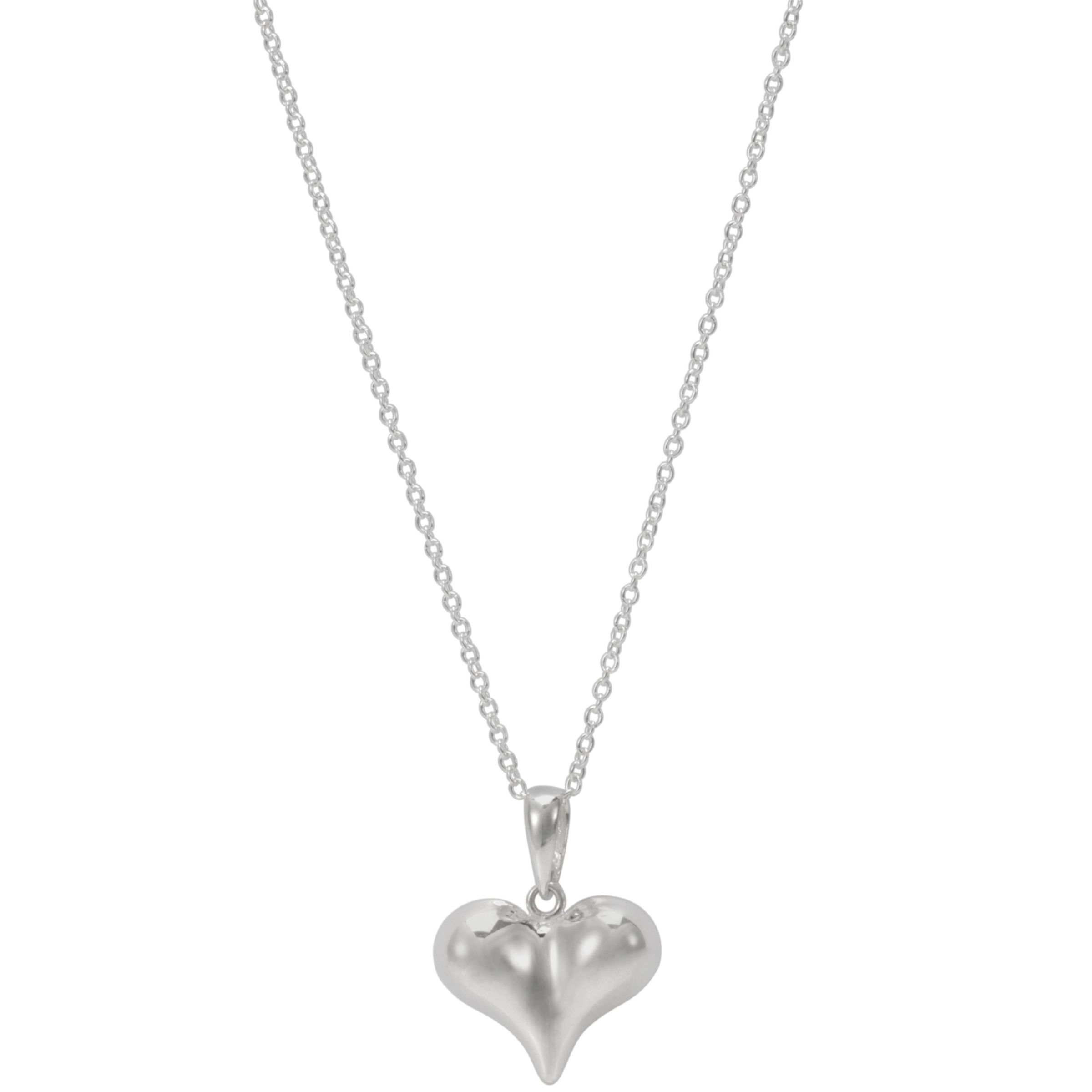Andea Silver Pointed Puffed Heart Pendant Necklace
