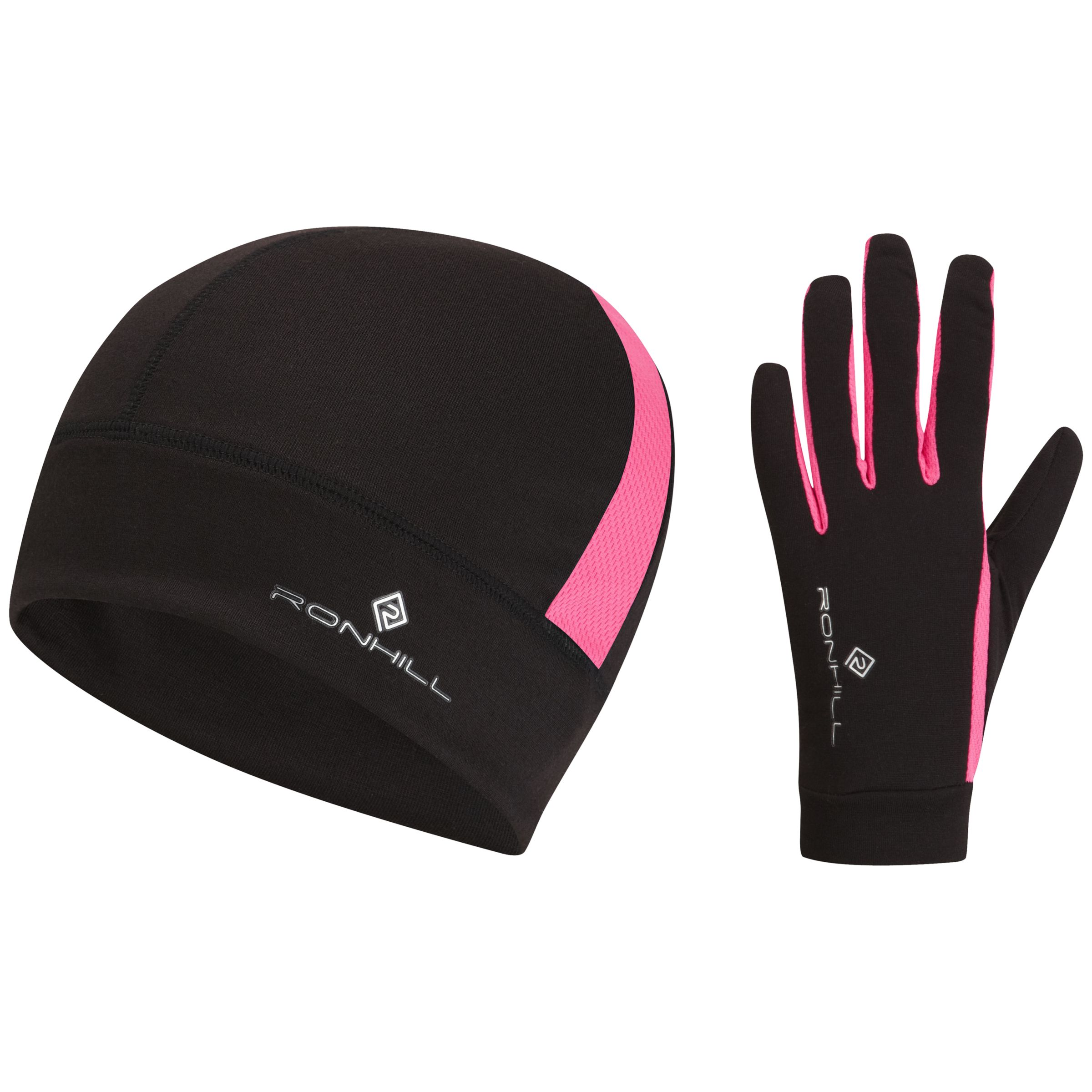 Ronhill Beanie And Glove Set, Black/Pink