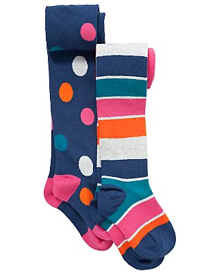 John Lewis Girl Spot and Stripe Tights, Pack of 2, Multicoloured, 2-3 years