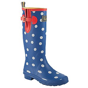 Joules Ping Pong Wellington Boots, Blue