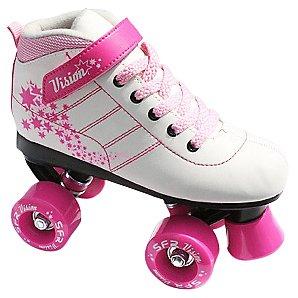 Stateside Skate Vision Quad Roller Skates, White/Pink, J12