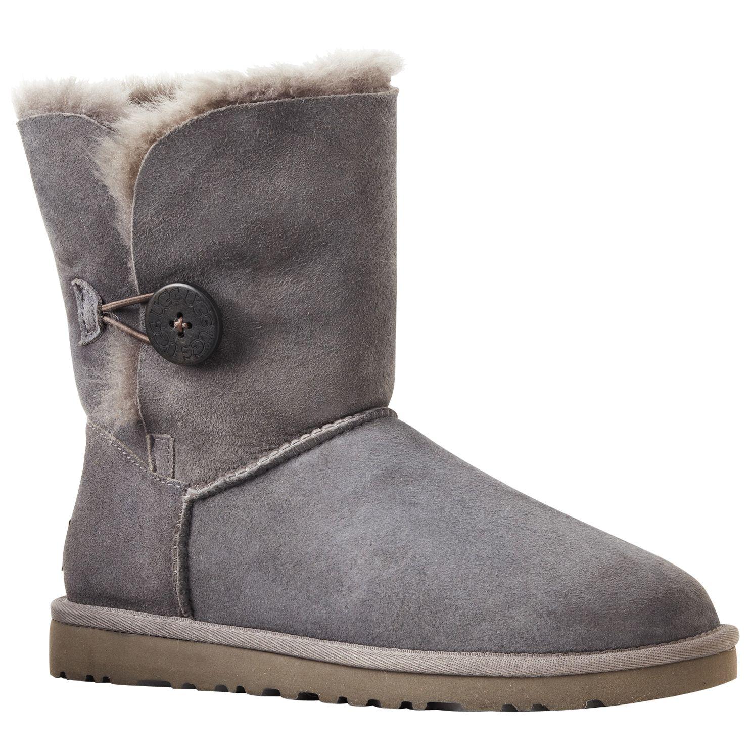 UGG B Button Short Boots, Grey at John Lewis