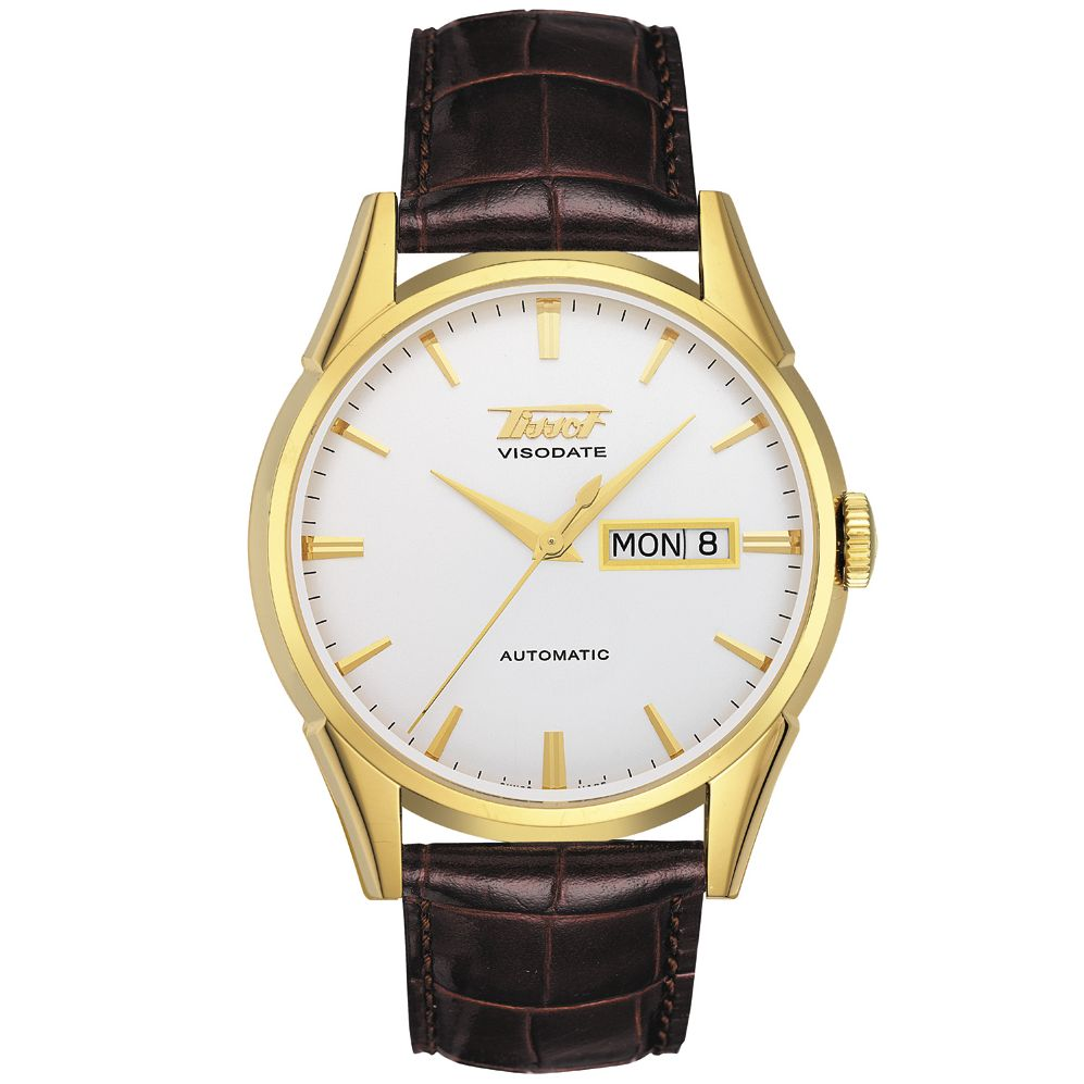 Tissot T0194301603100 Gold Visodate Men's Strap Watch at John Lewis