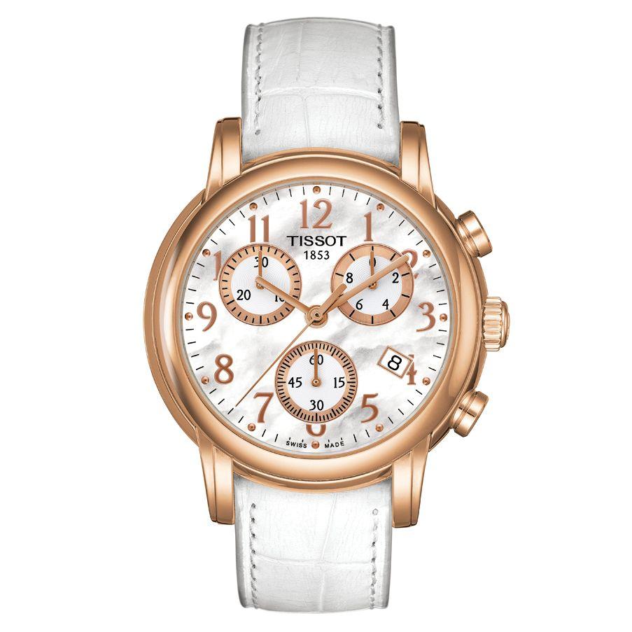Tissot Dressport Women's Chronograph Leather Strap Watch, White at John Lewis