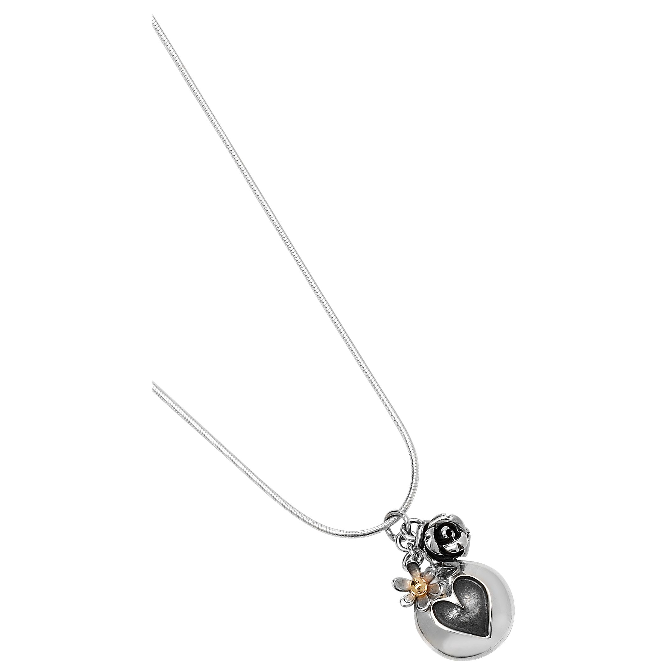 Linda Macdonald Silver Heart and Rose Pendant Necklace