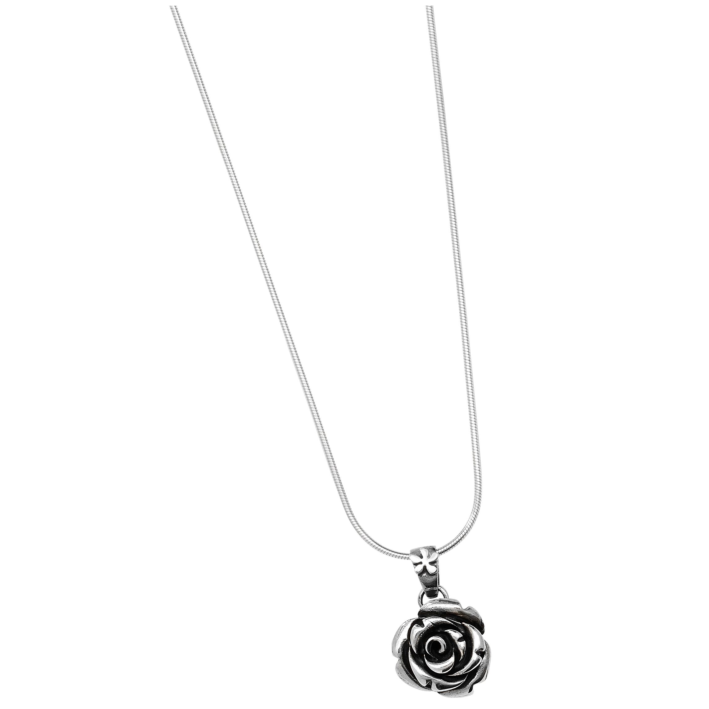 Linda Macdonald Large Silver Rose Pendant Necklace