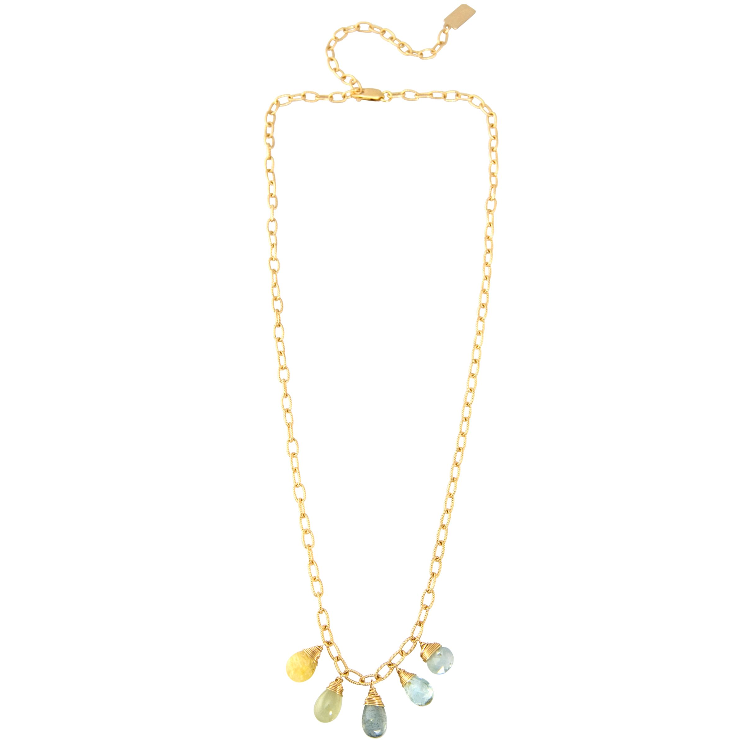 RueBelle 5 Drop Gold Filled Pendant Necklace