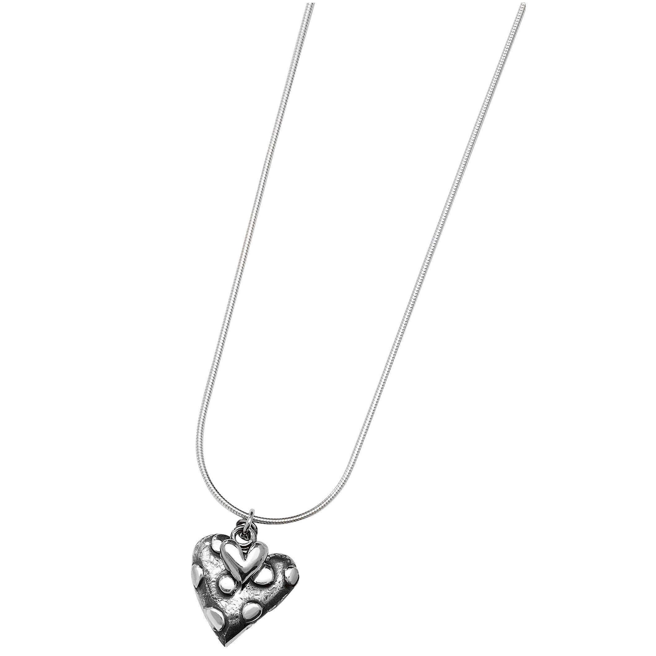 Linda Macdonald Oxidised Silver Dotty Heart Pendant Necklace