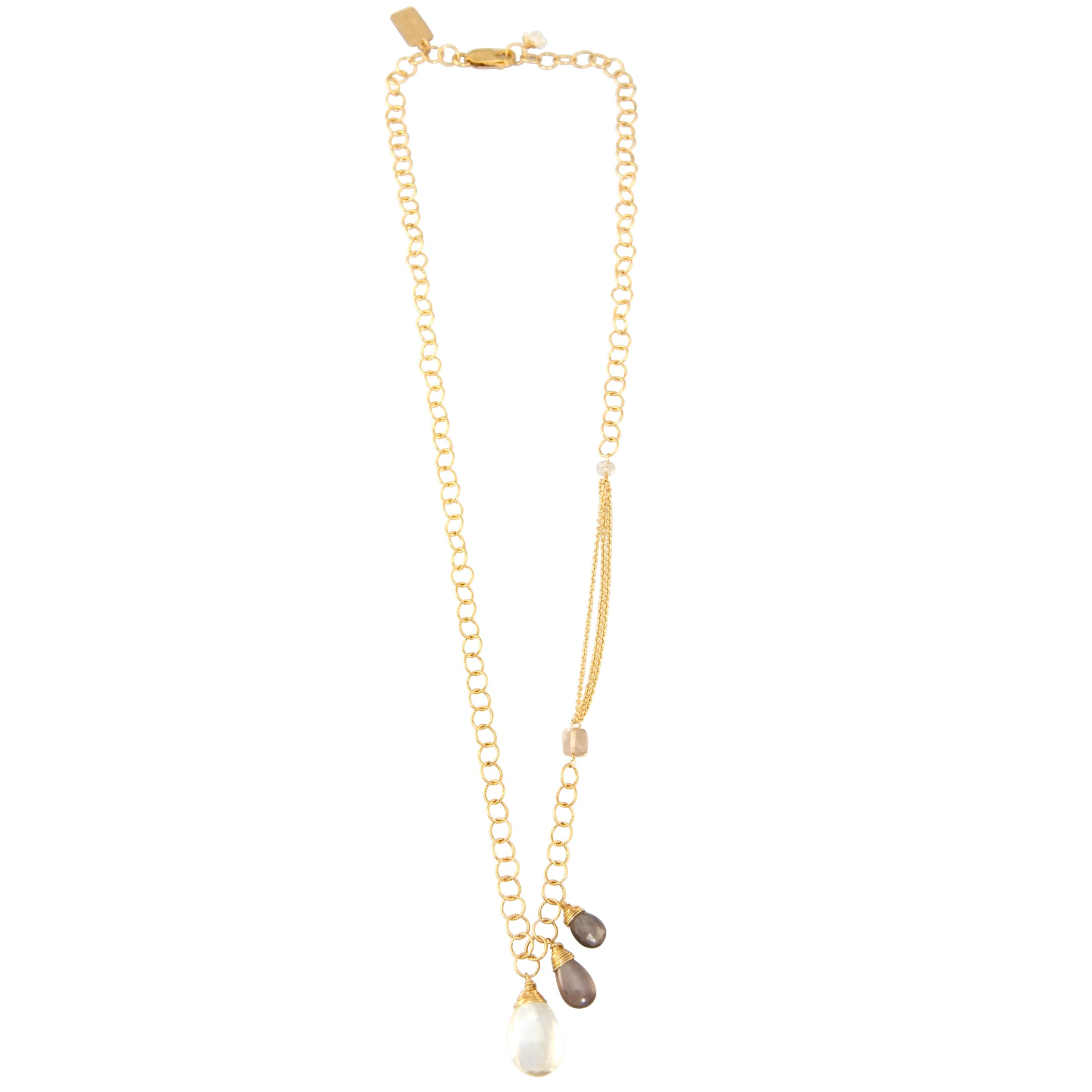 RueBelle 3 Champagne Drop Gold Filled Chain Link Necklace