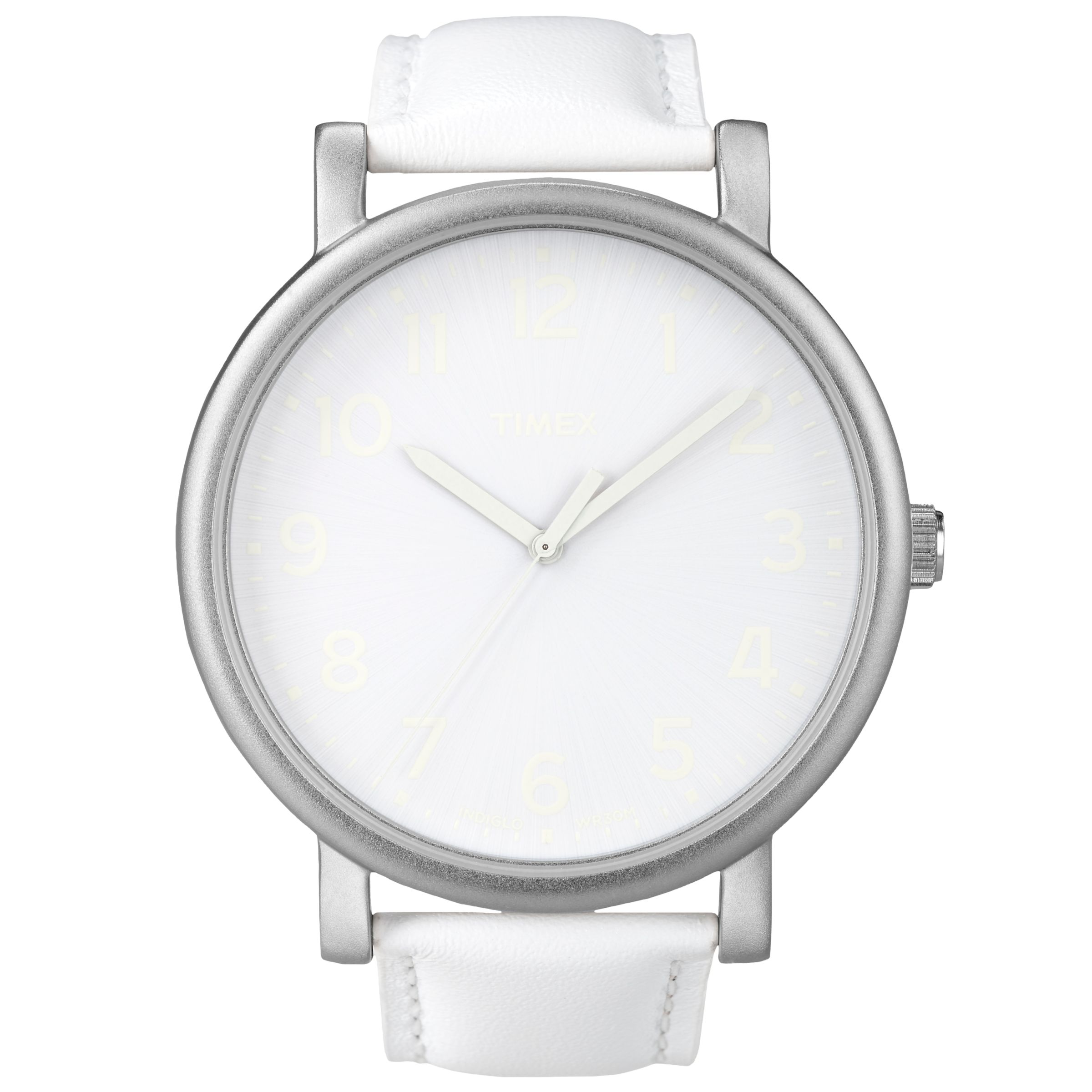 Timex T2N345 Unisex Classic Large Round White Dial White Leather Strap Watch
