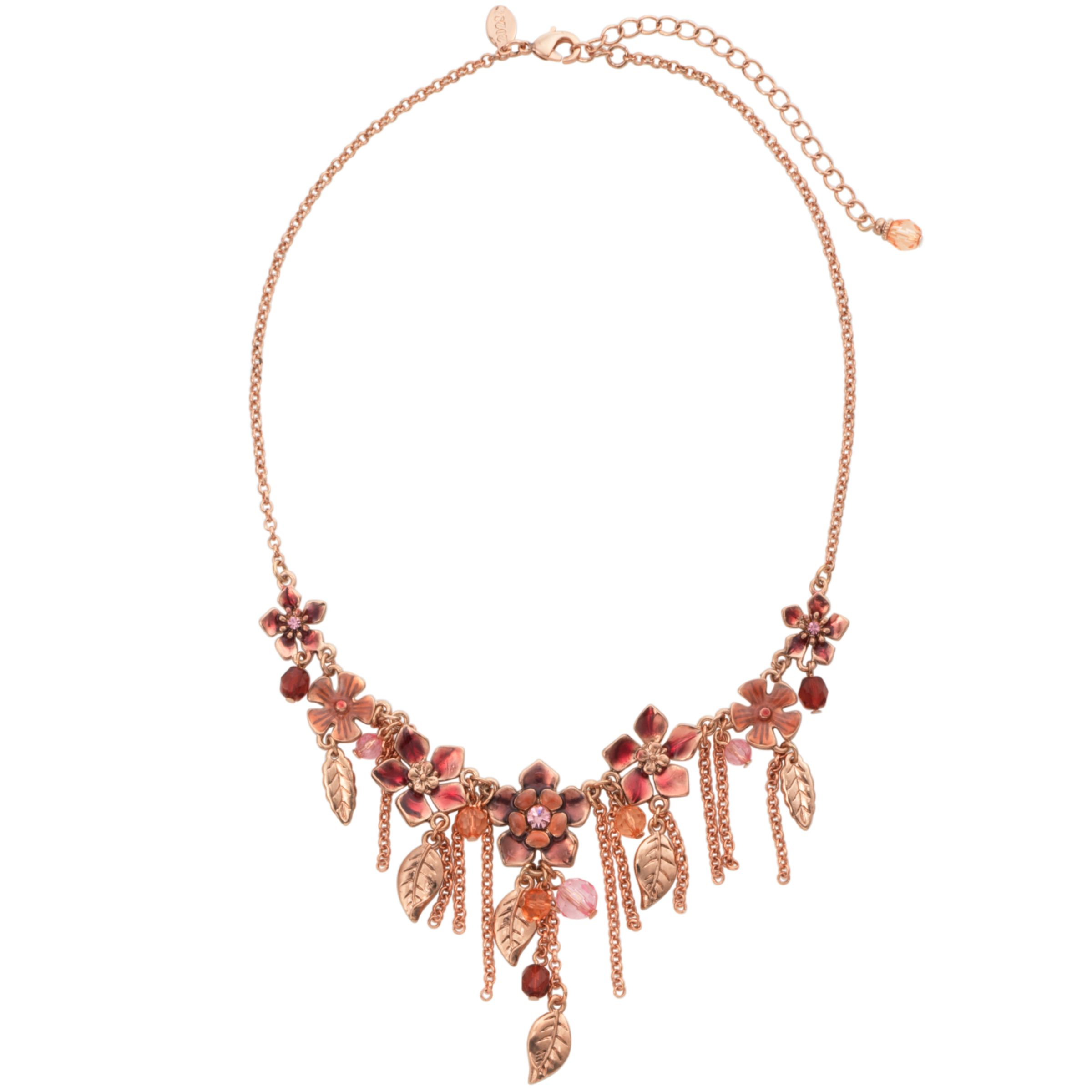 1928 Collection New York Papaya Flower and Leaf Cluster Drop Necklace
