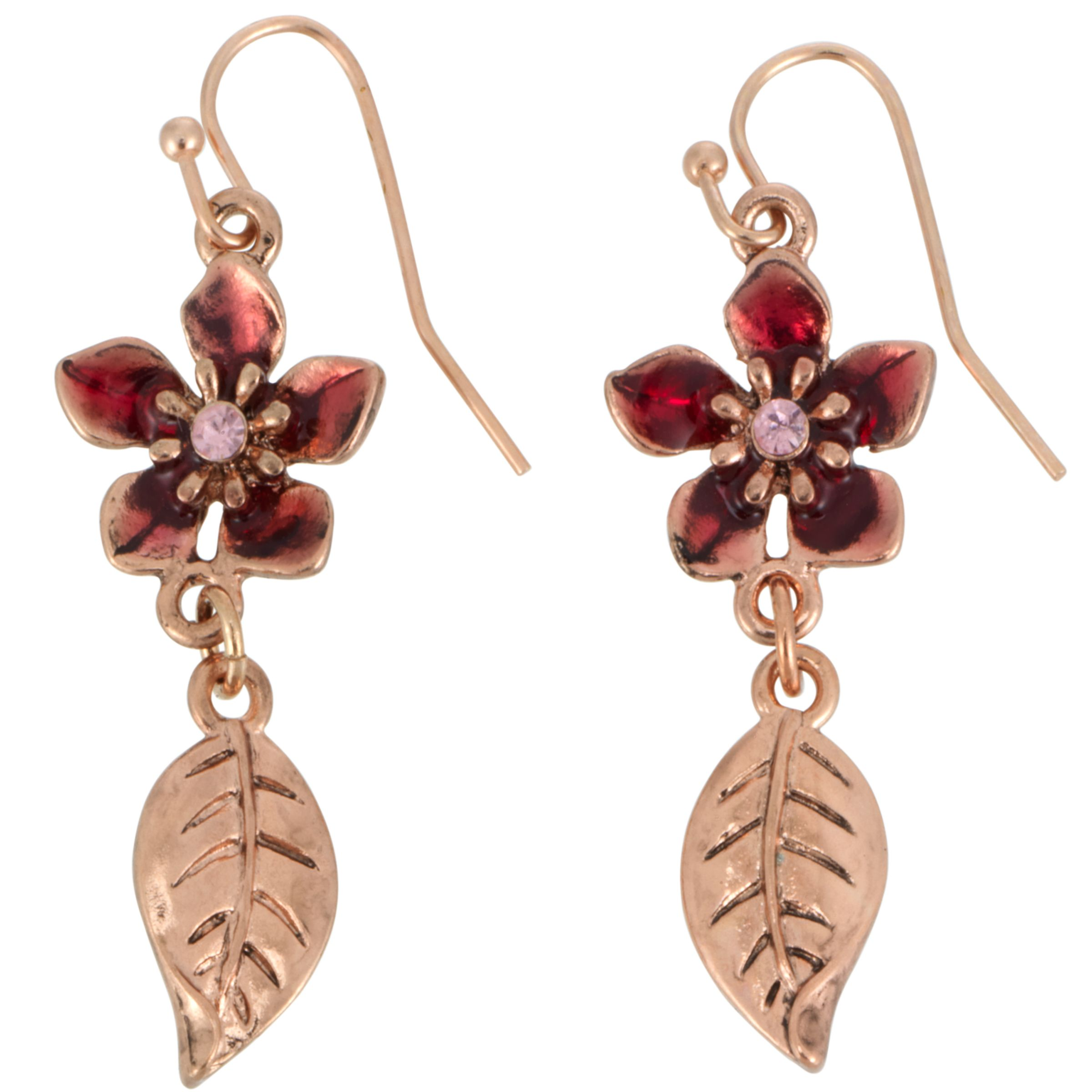 1928 Collection New York Papaya Flower and Leaf Drop Earrings