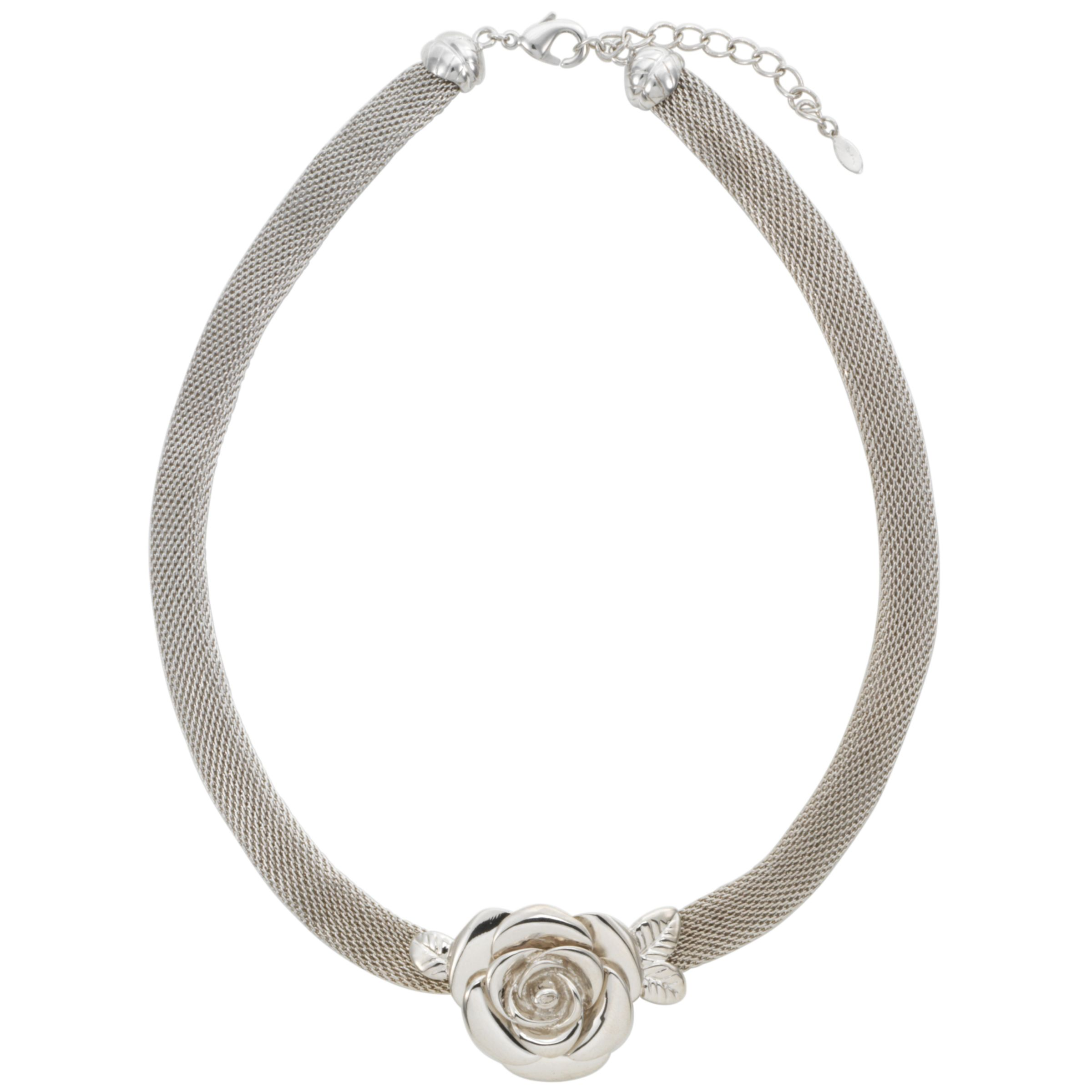 Finesse Rhodium Rose Flower Pendant Necklace