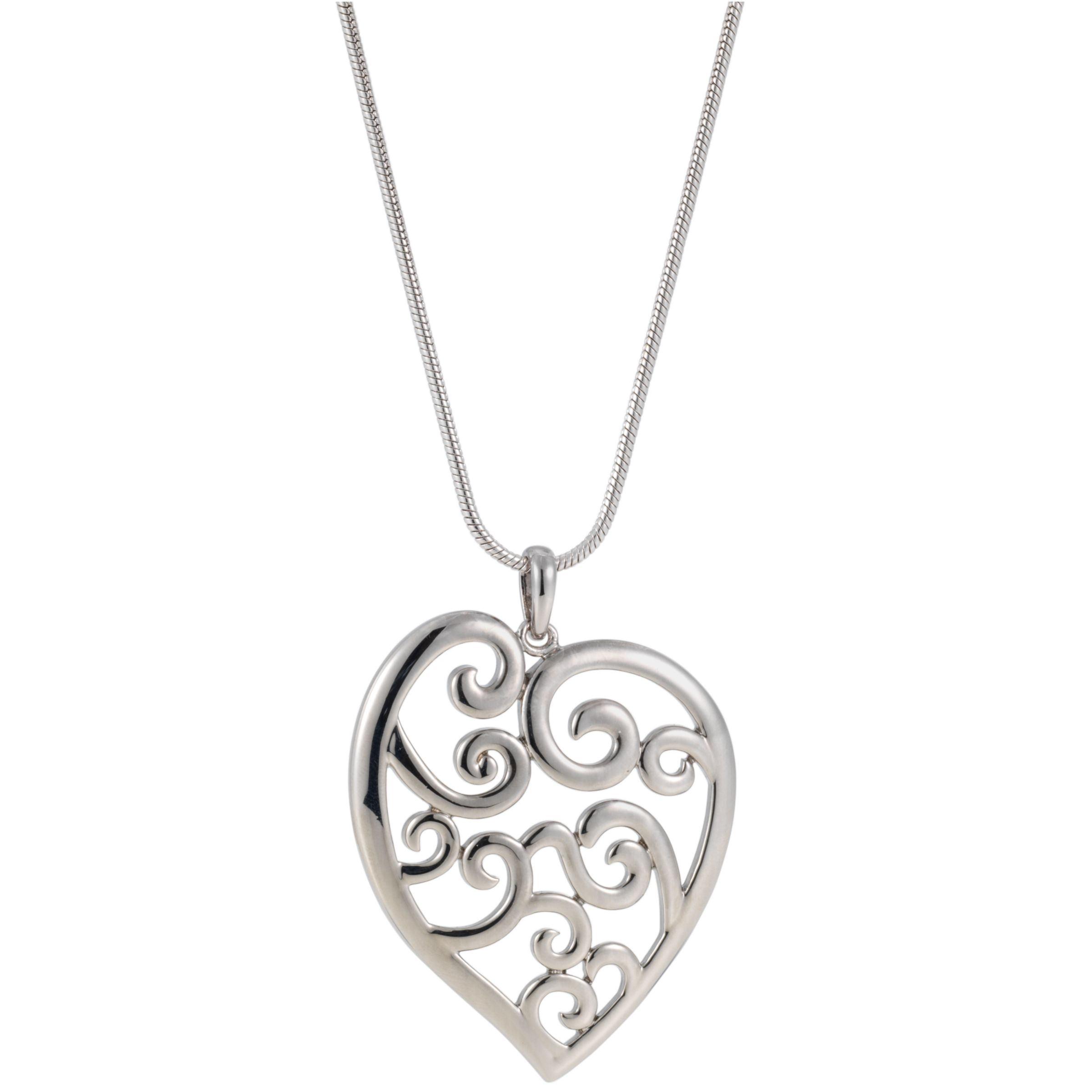 Finesse Scrolled Heart Pendant Necklace