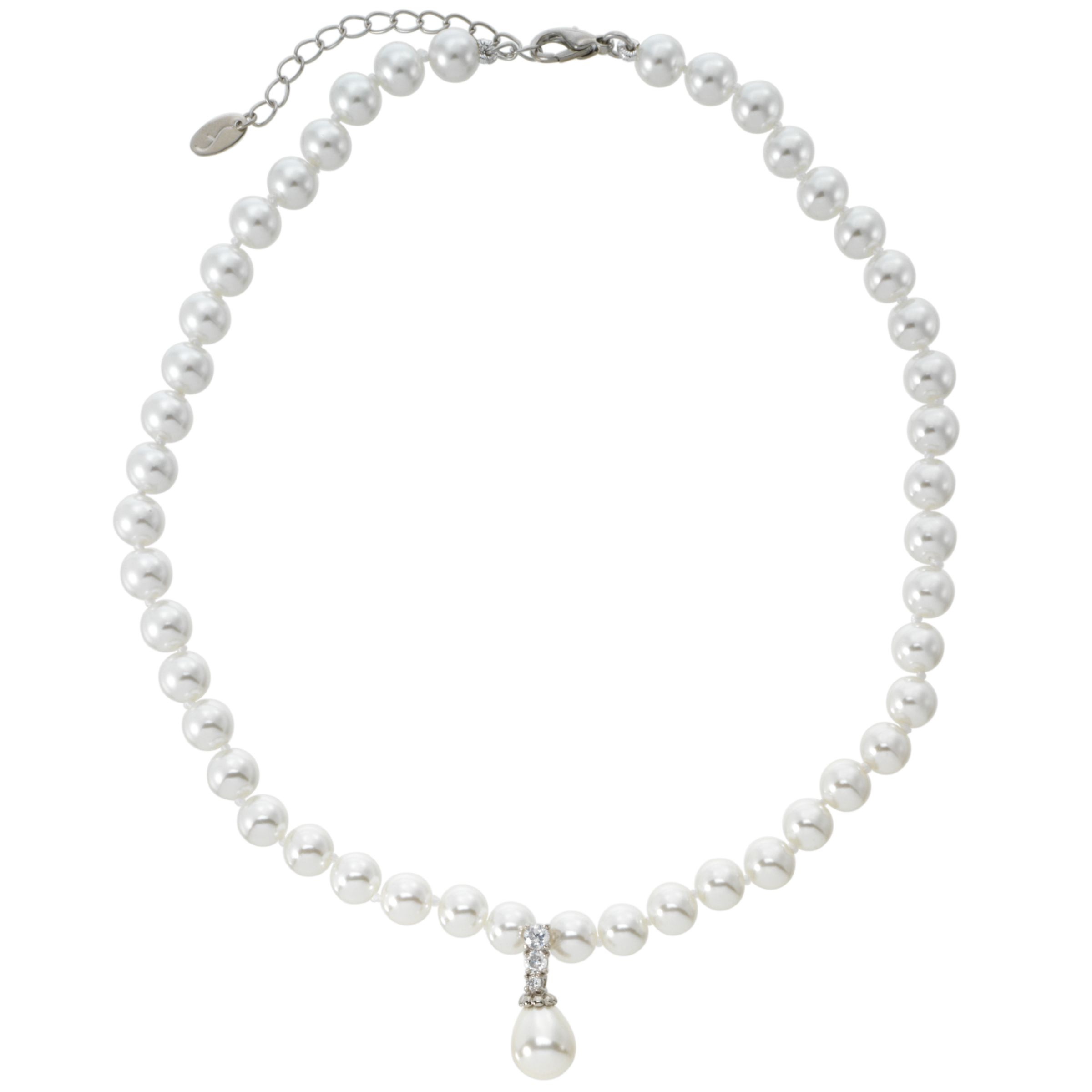 Finesse Simulated Pearl Necklace with Cubic Zirconia and Teardrop Pendant