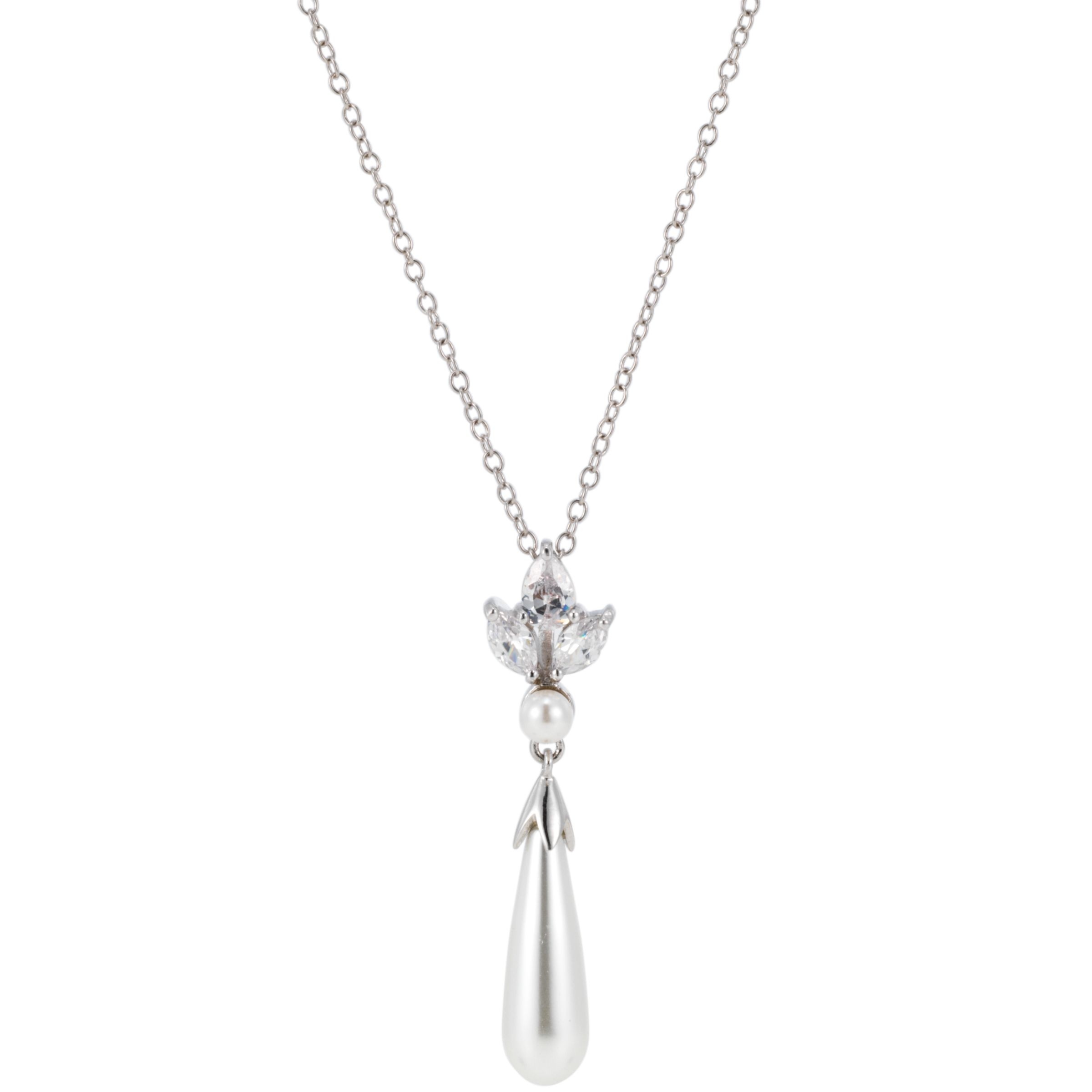 Finesse Crowned Pearl and Cubic Zirconia Drop Pendant Necklace