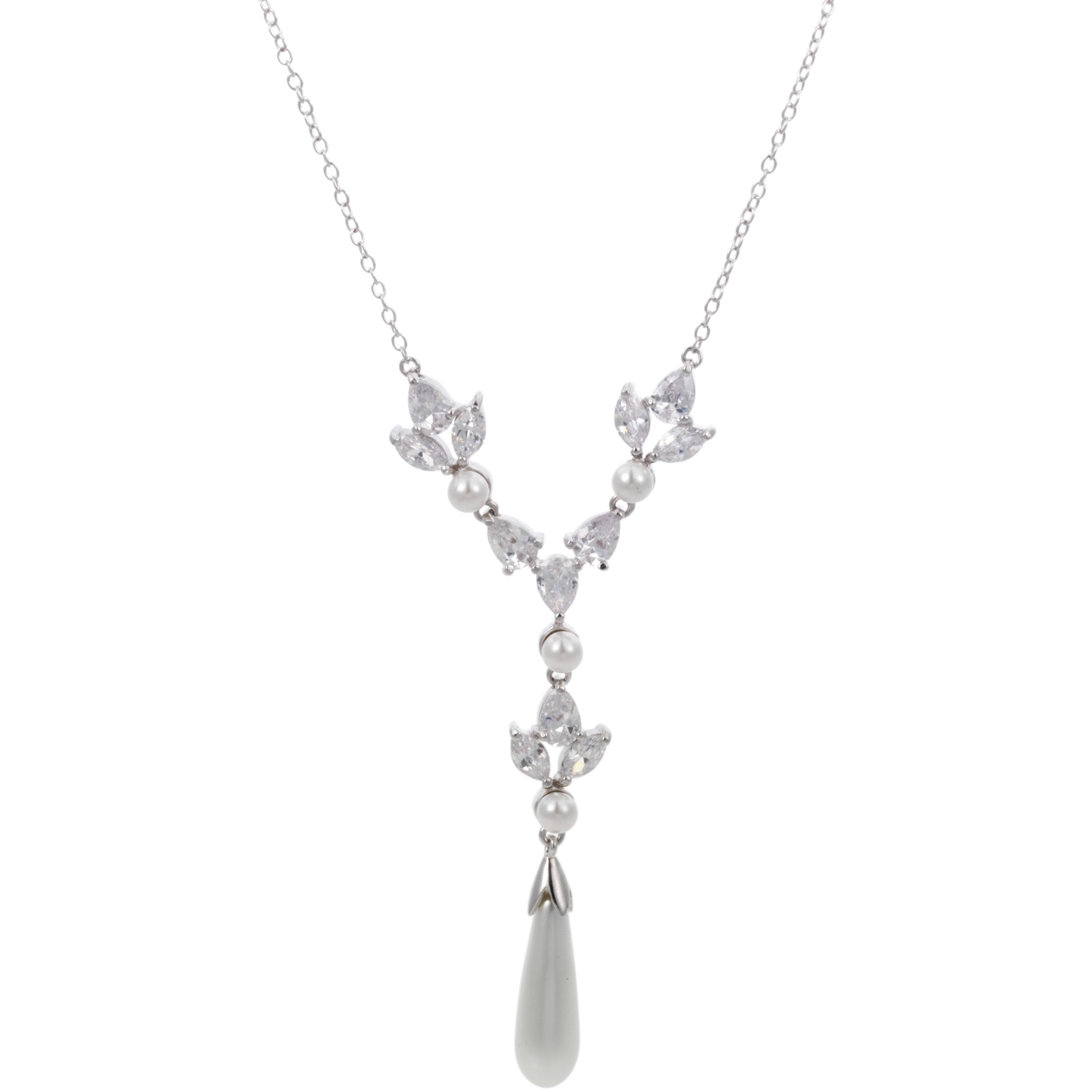 Finesse Crowned Pearl and Cubic Zirconia Y-Style Necklace