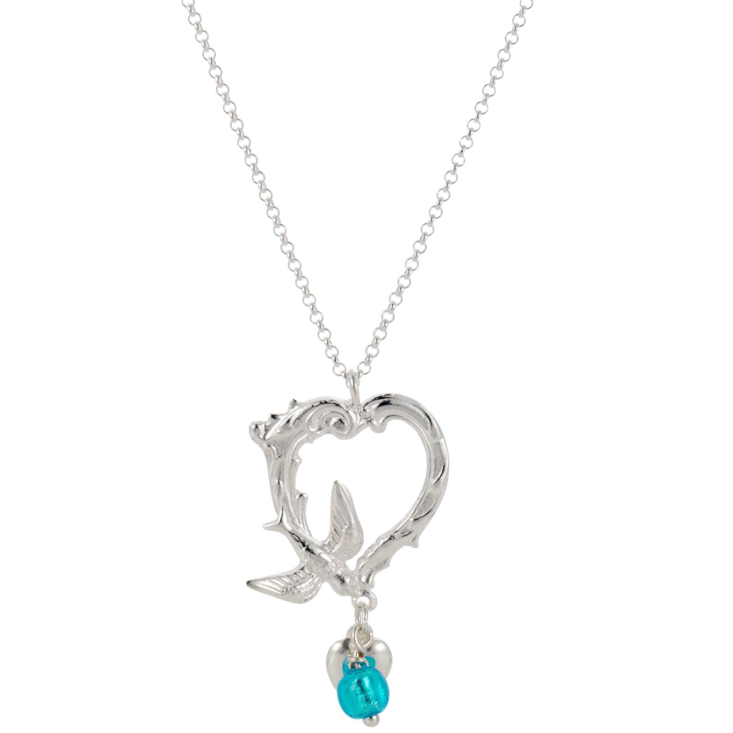 Martick Ornate Swallow Heart Pendant Necklace