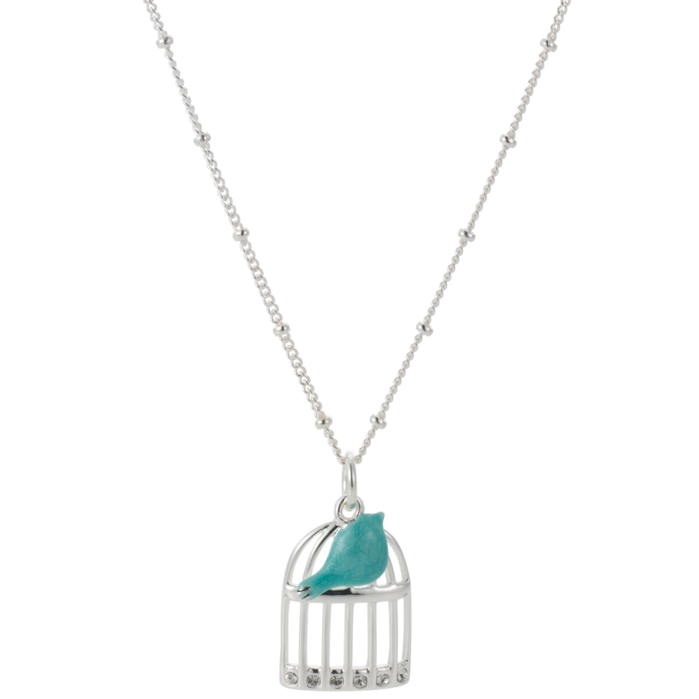 Martick Enamel Silver Birdcage Pendant Necklace