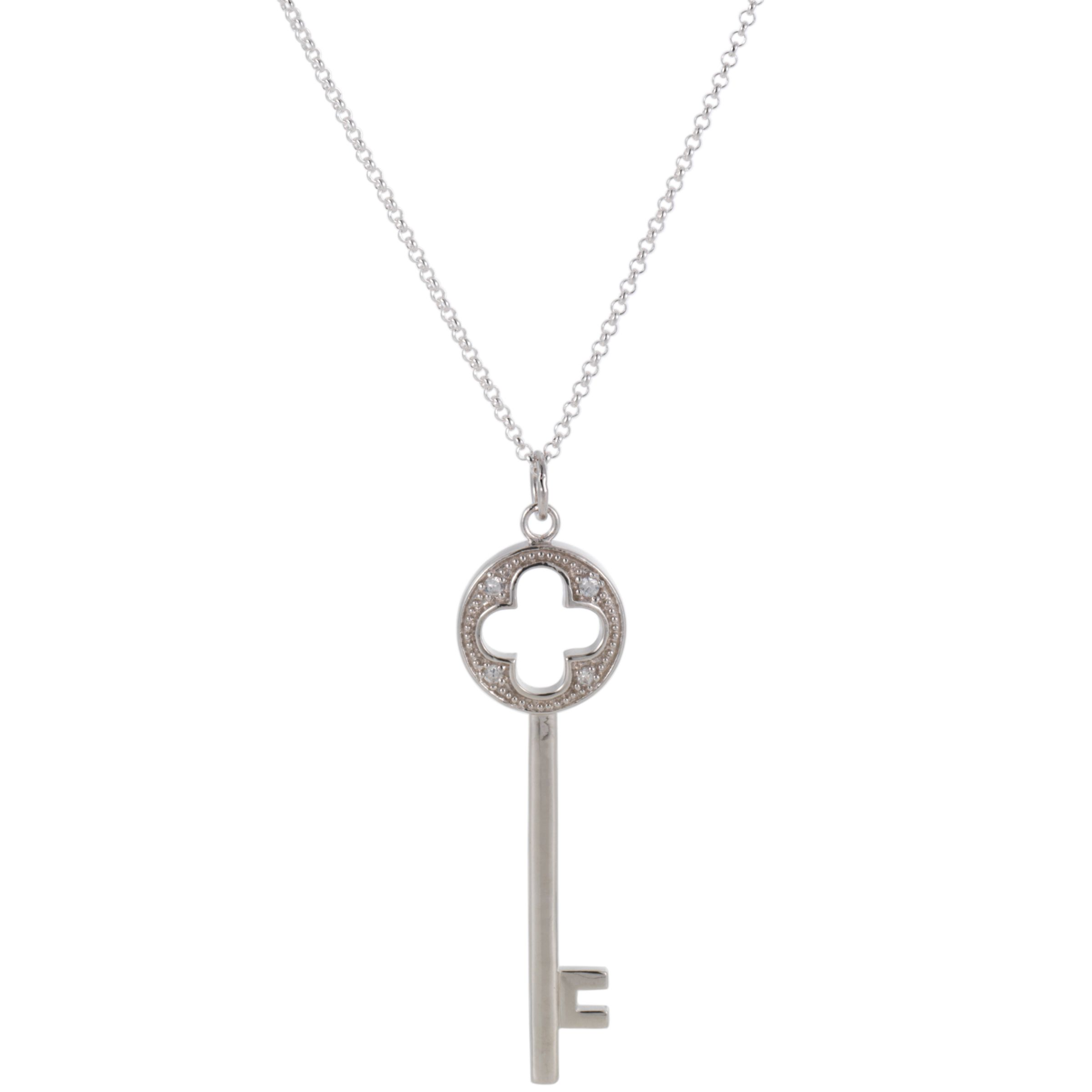 Martick Cubic Zirconia Encrusted Key Pendant Necklace