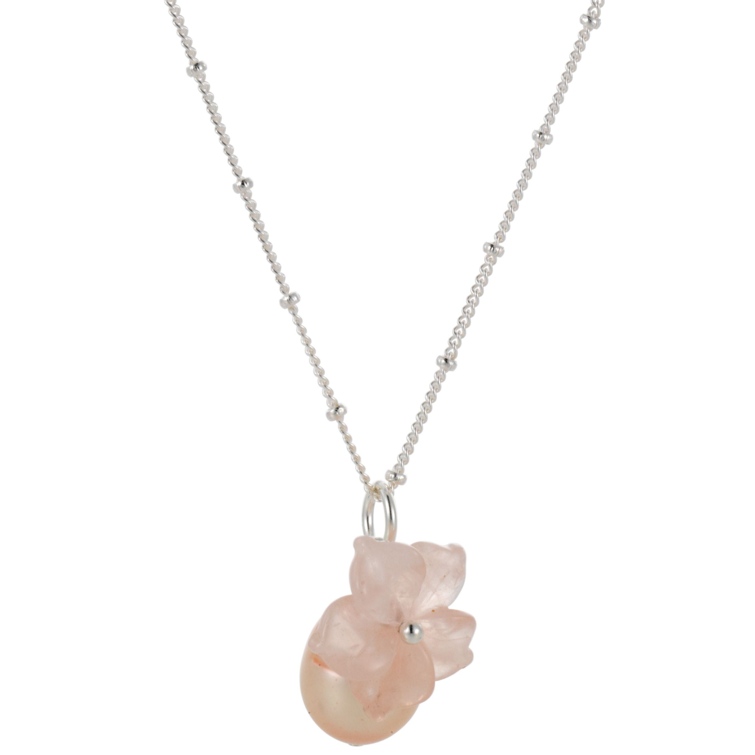 Martick Flower and Pink Pearl Pendant Necklace