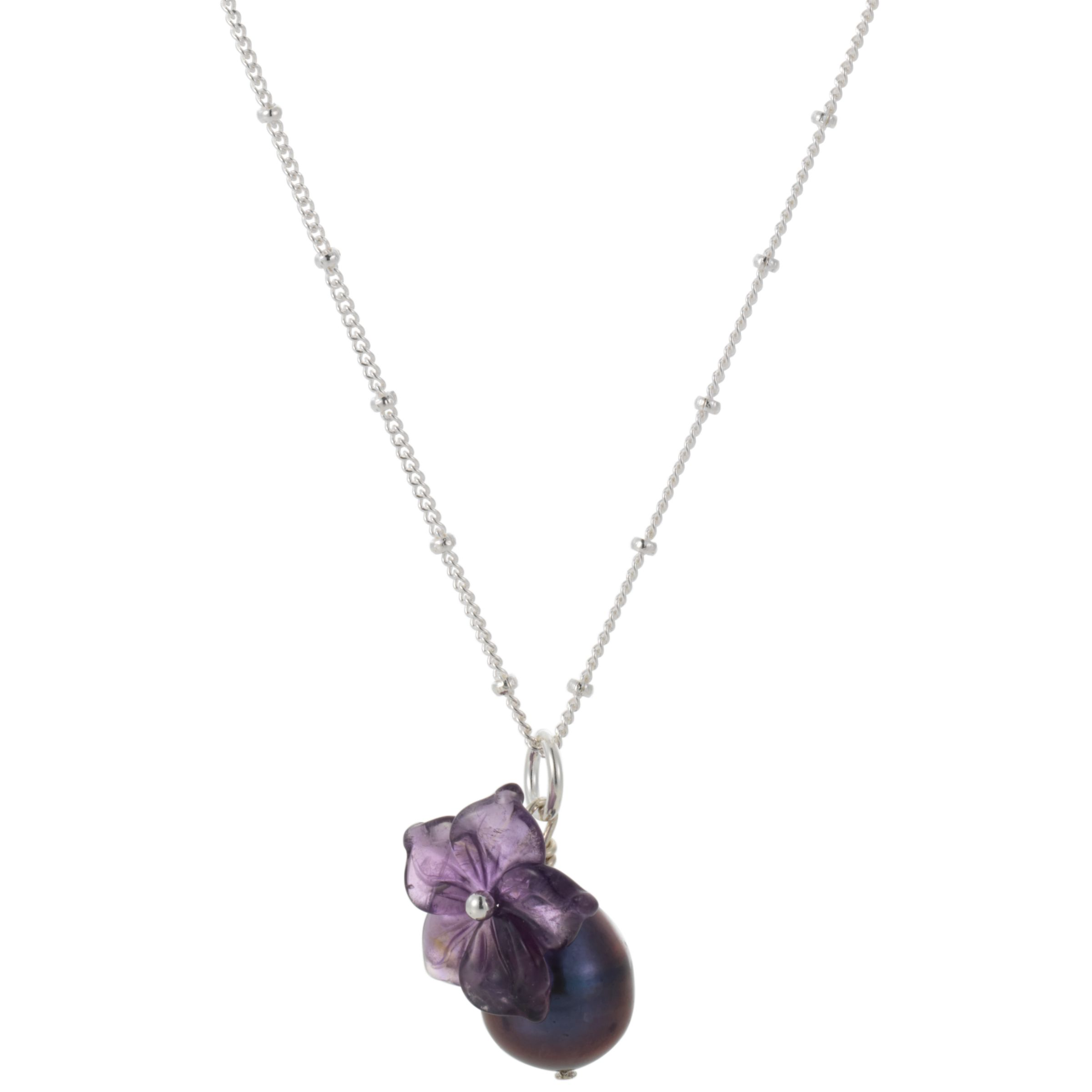 Martick Flower and Purple Pearl Pendant Necklace