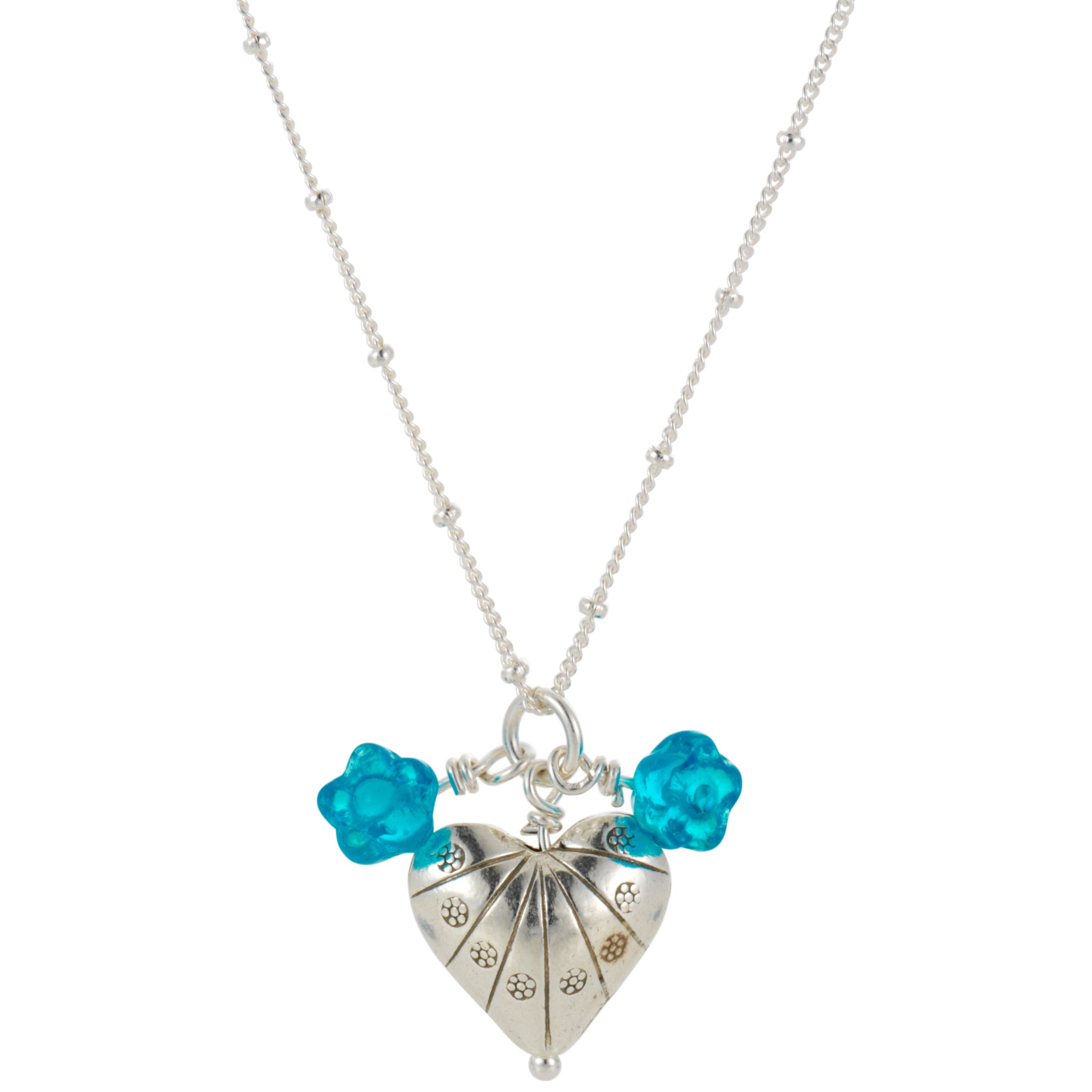 Martick Shelly Silver Heart Blossom Pendant Necklace