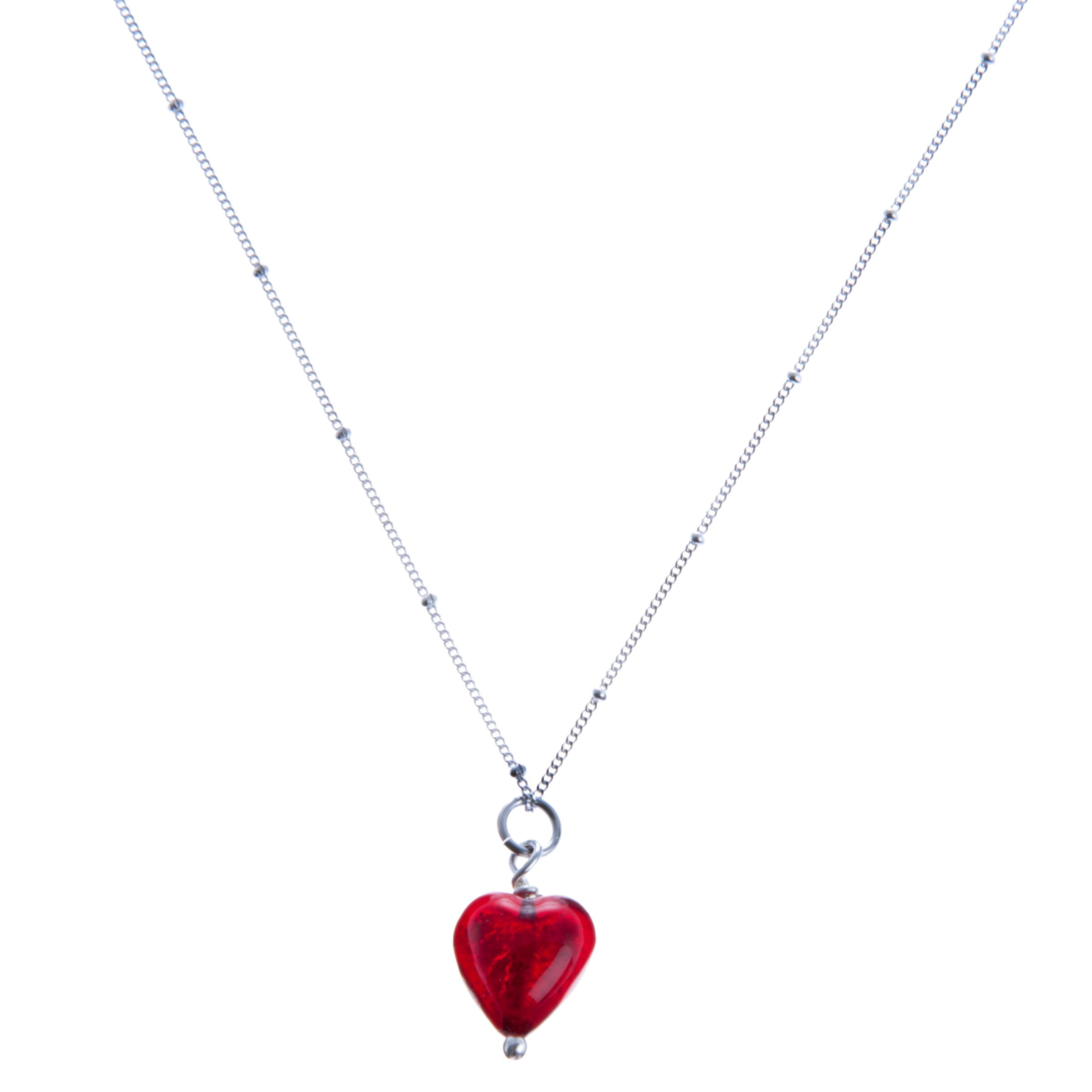 Martick Cranberry Murano Heart Pendant Necklace
