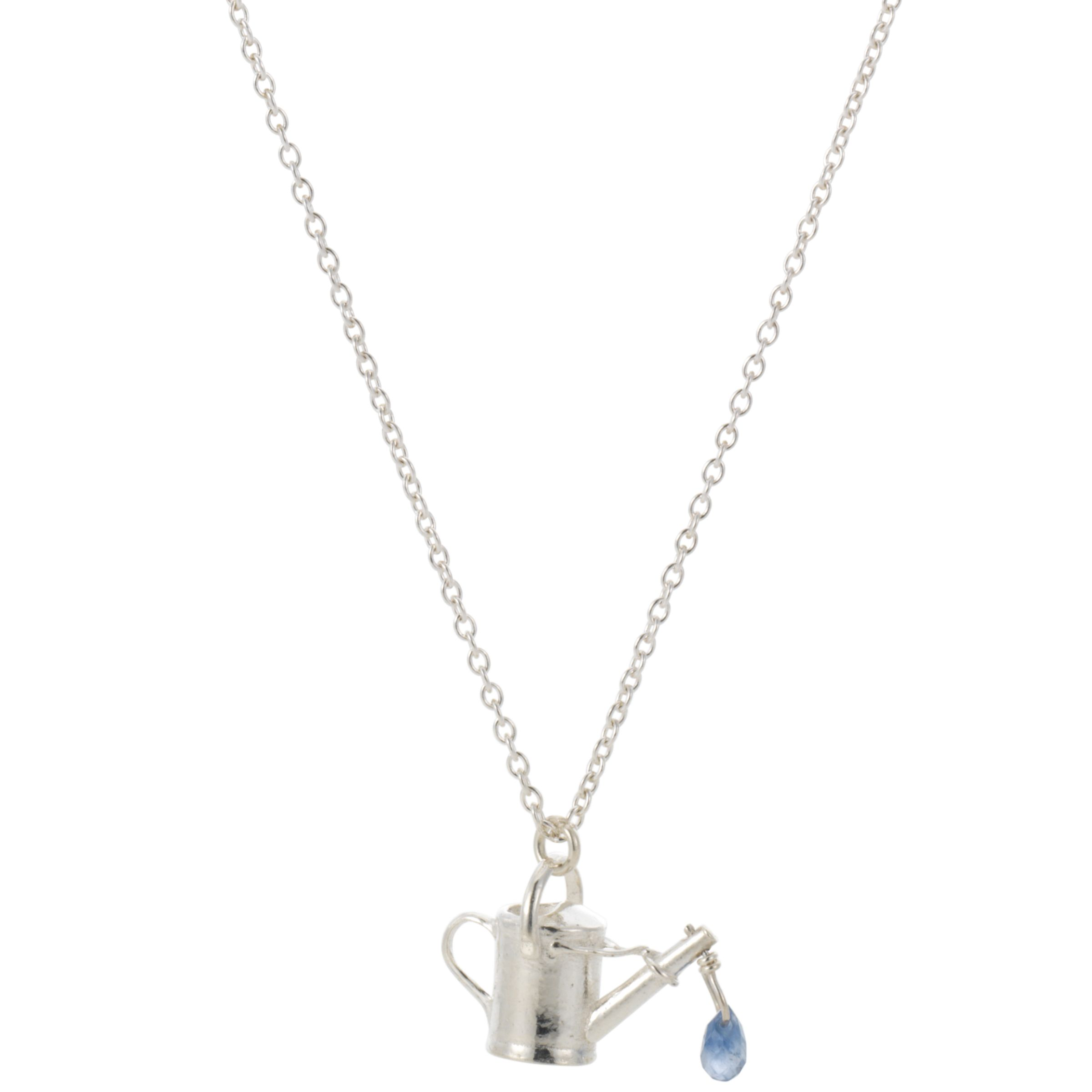 Alex Monroe Watering Can Grey Sapphire Necklace, Silver